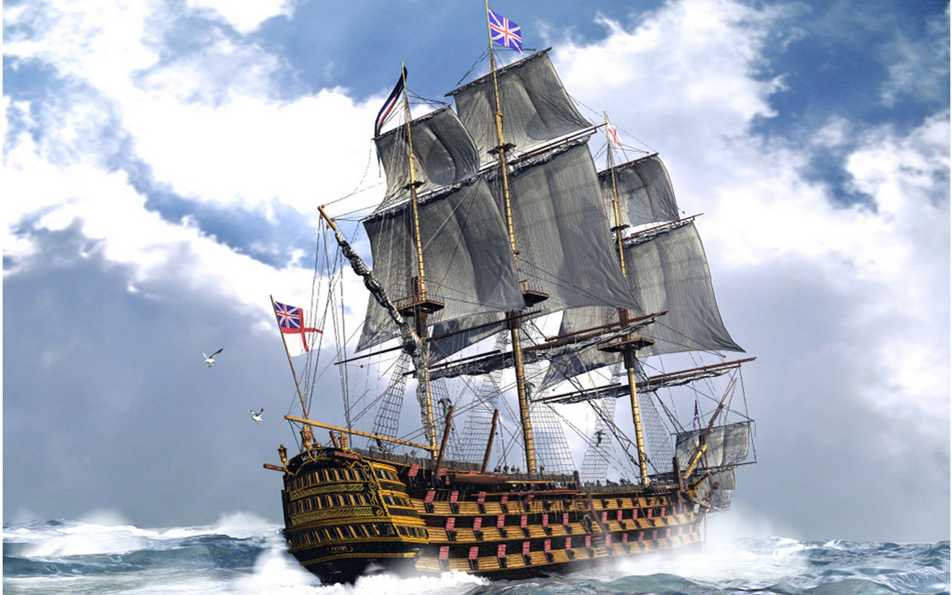Ocean ships britain flags cannons british sail ship sails free ...