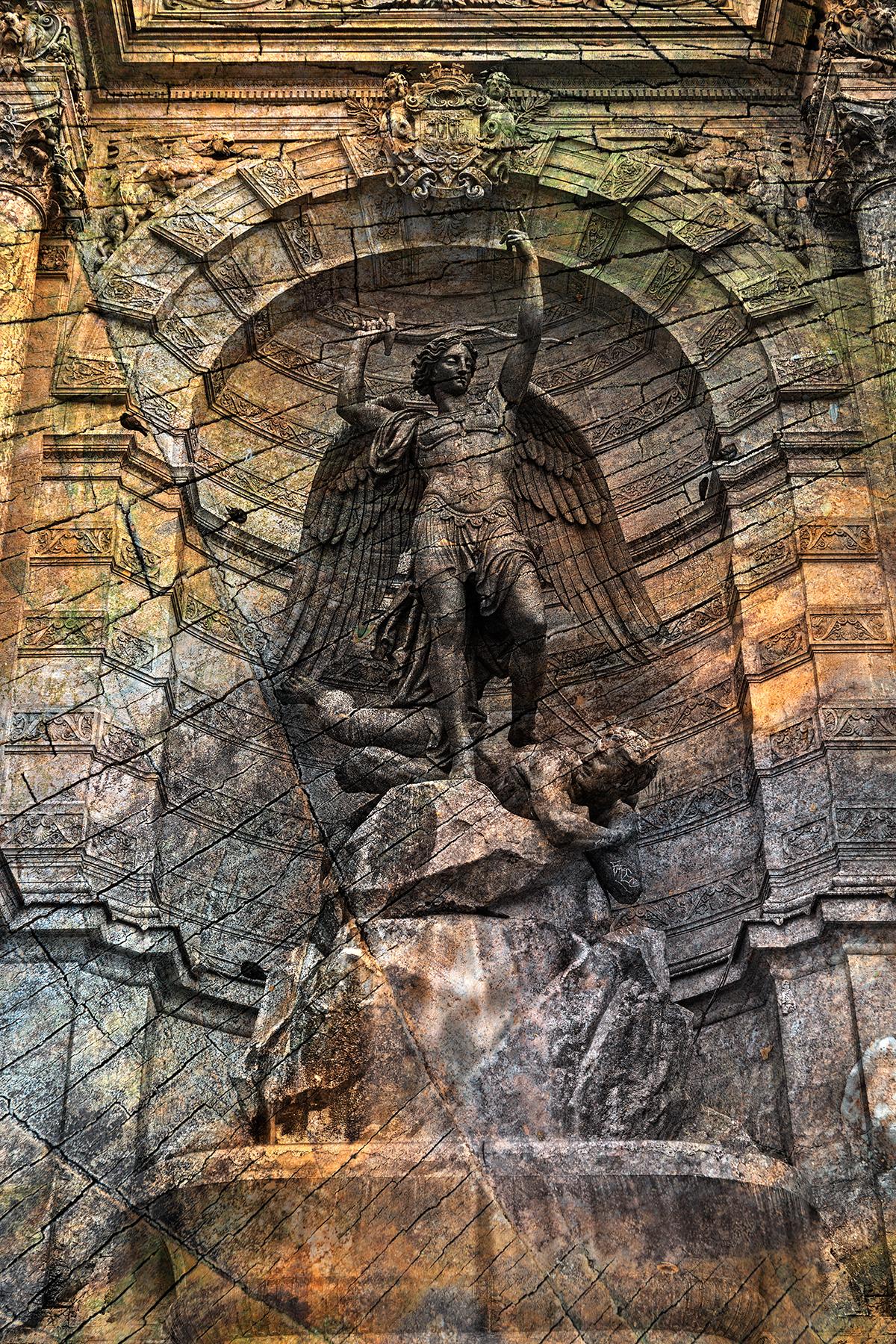 Saint-michel grunge fountain photo
