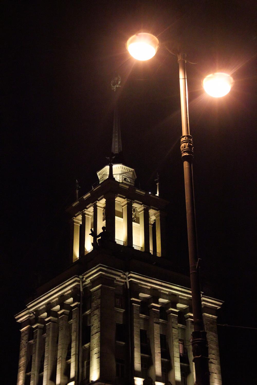 Saint Petersburg, Building, Column, Lamp, Night, HQ Photo