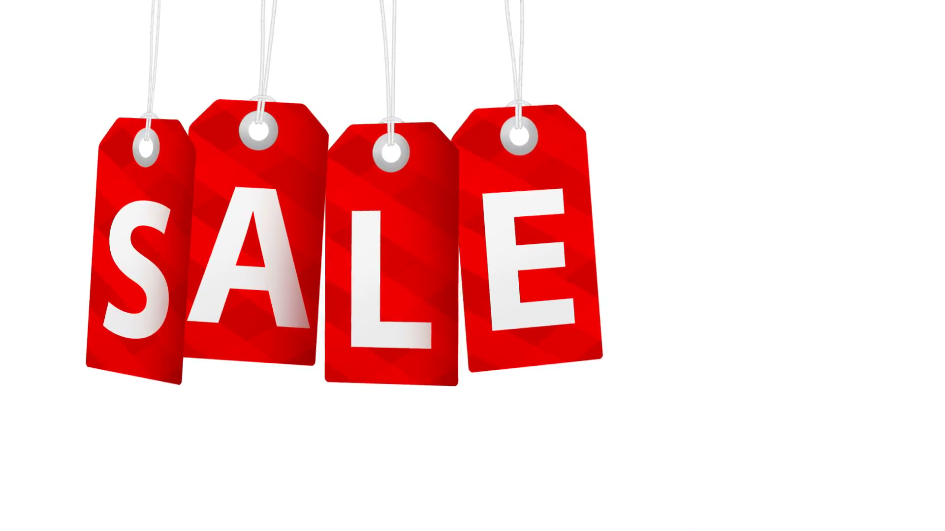 Big sale animation with red tags rotating for shopping sales and ...