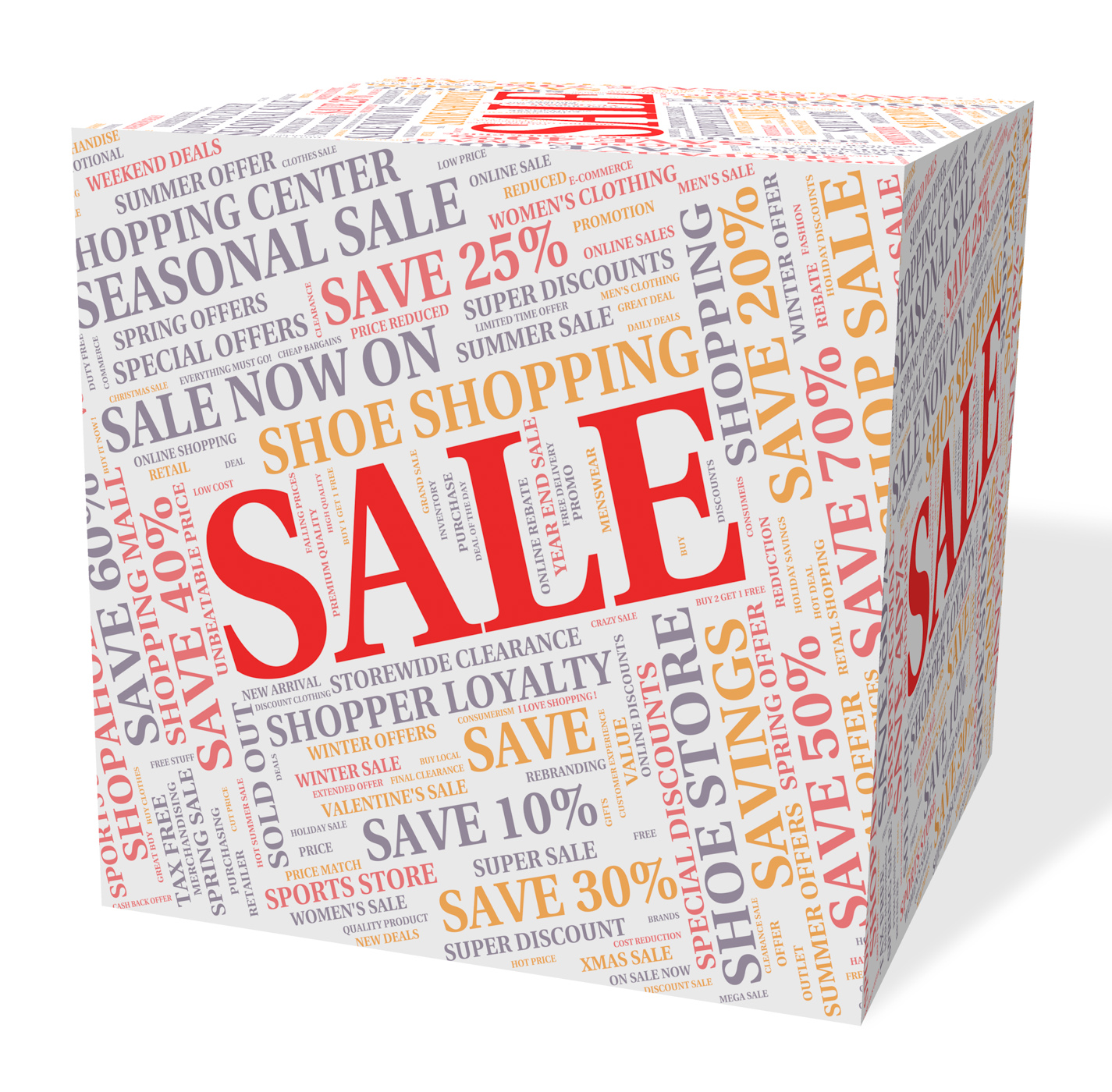 Sale cube represents words offers and bargains photo