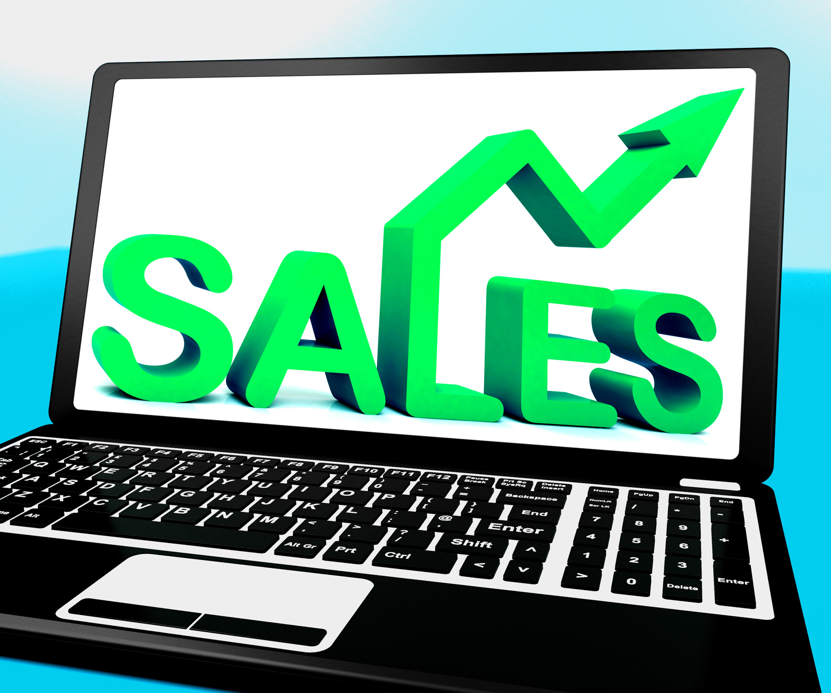 Sales on notebook showing marketing profits photo