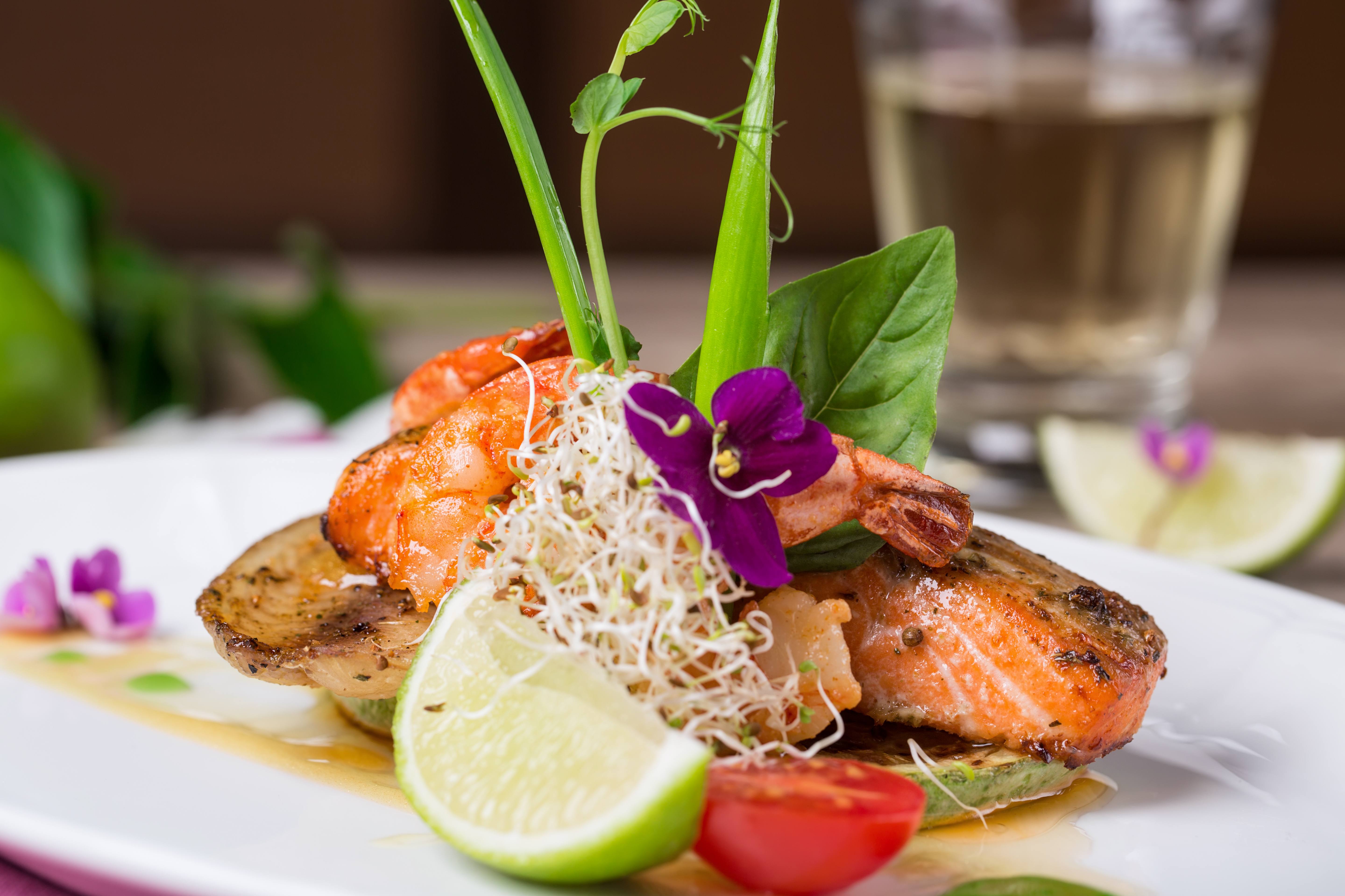 Salmon dish with shrimps and lime photo