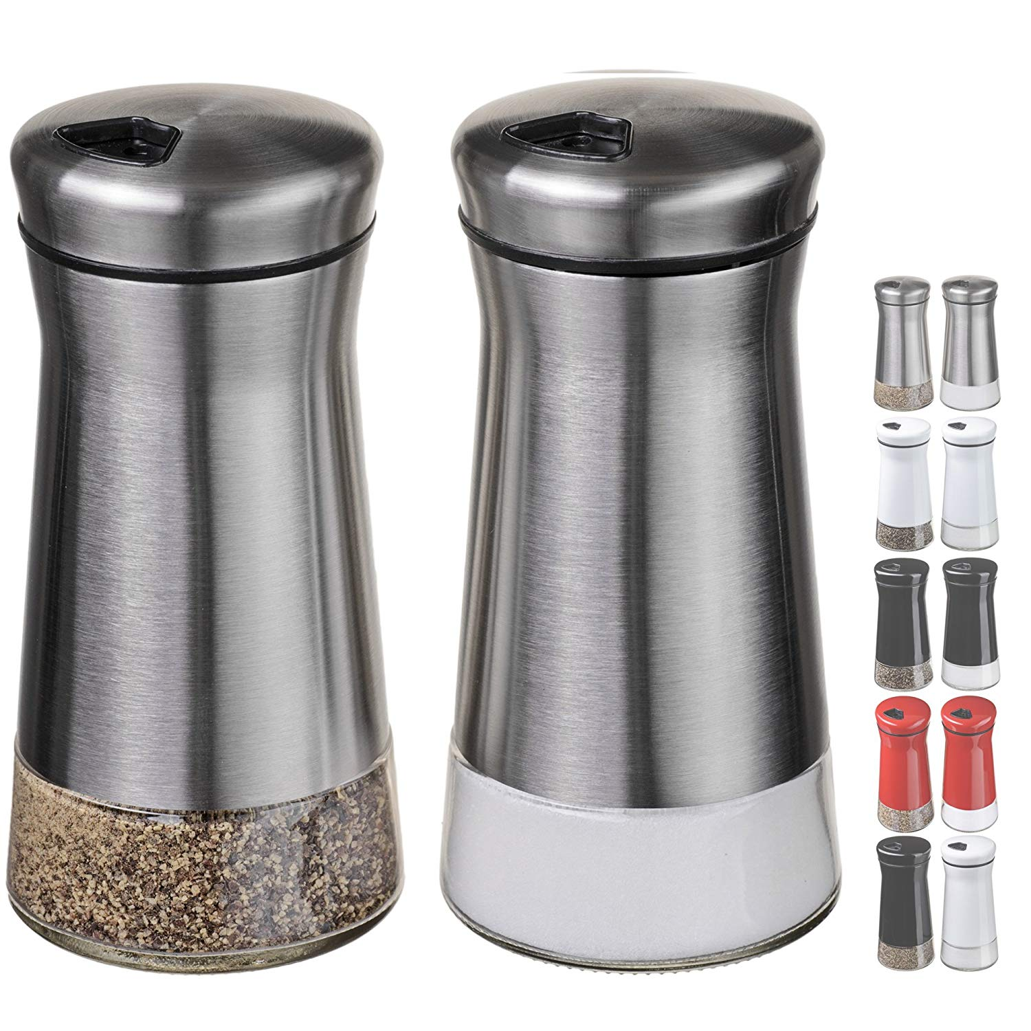 Amazon.com: CHEFVANTAGE Salt and Pepper Shakers Set with Adjustable ...
