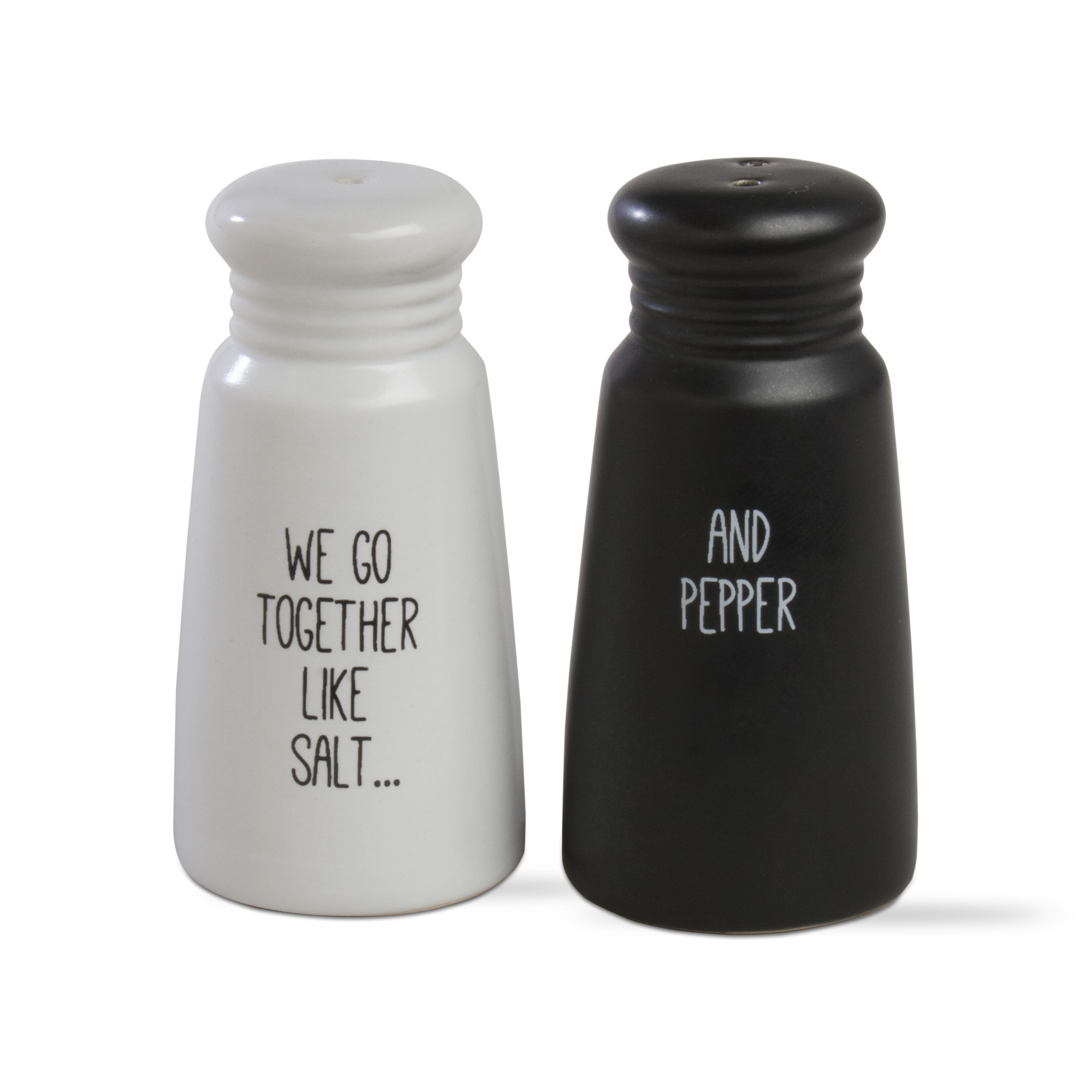 we go together salt & pepper shakers black/white 205373 - tag ltd.