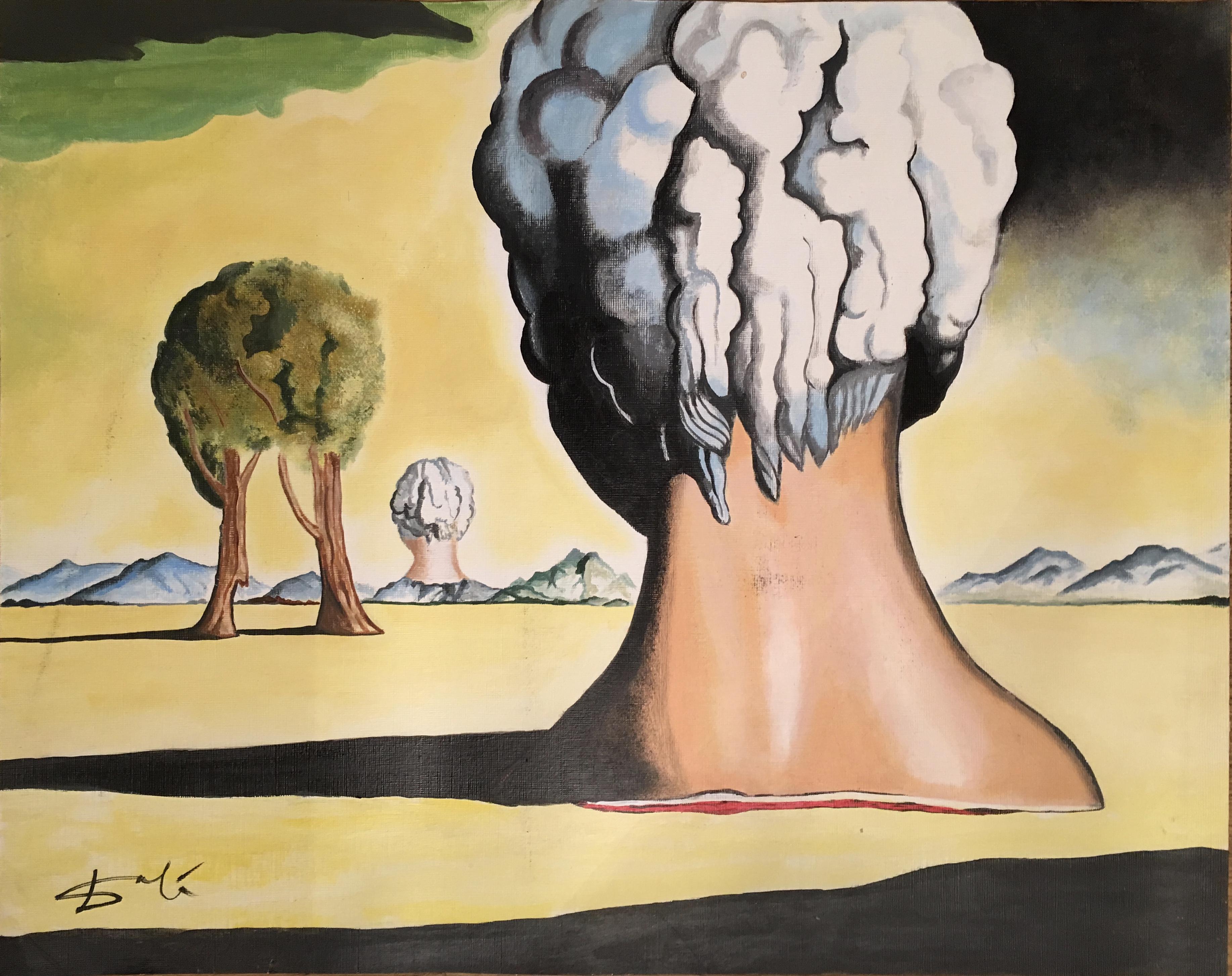 Salvador Dali Original Rare Hand Signed Vintage Oil Painting Three ...