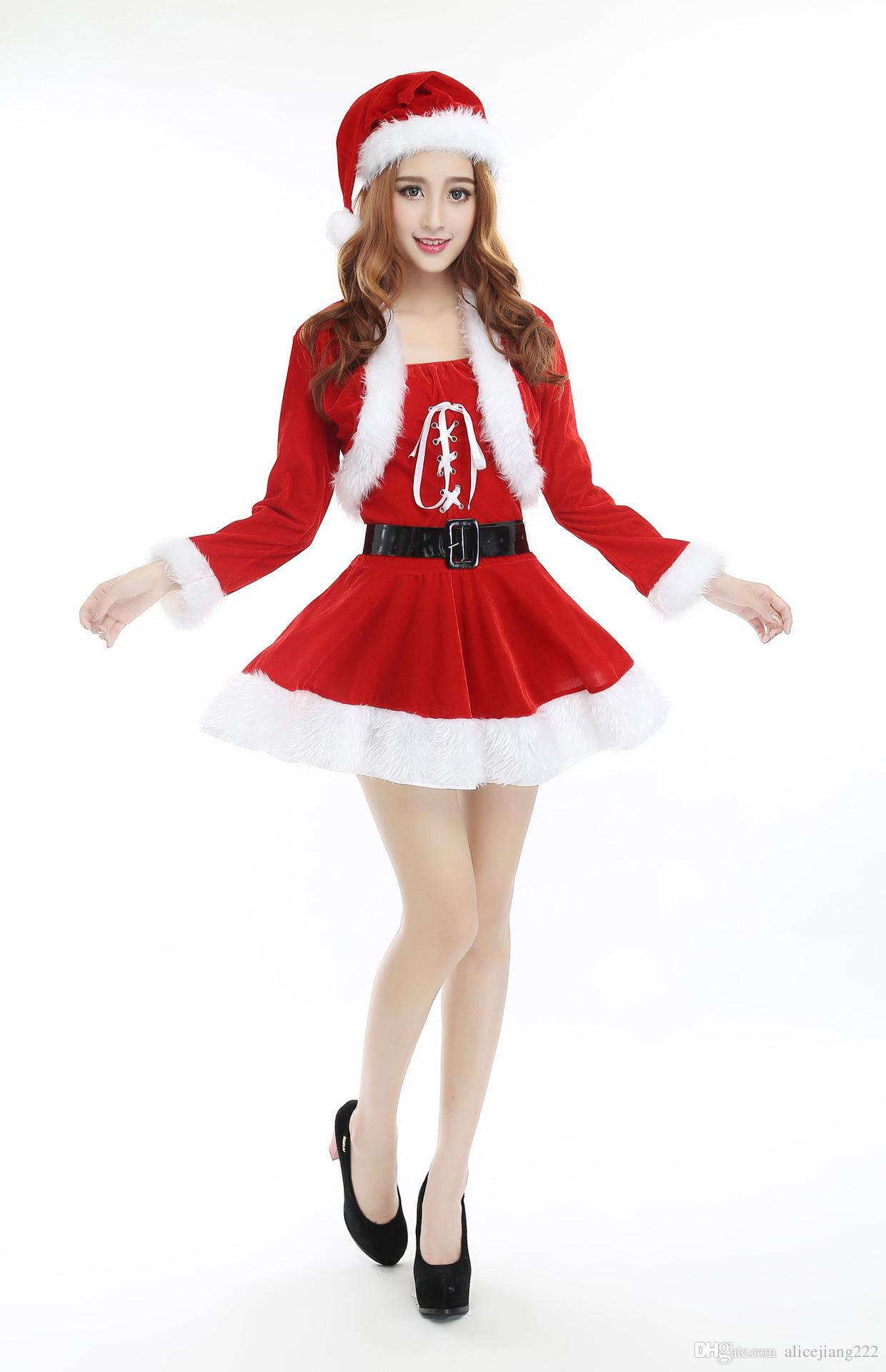 Woman Santa Suit Christmas Fancy Dress Xmas Cosplay Costume Uniform ...