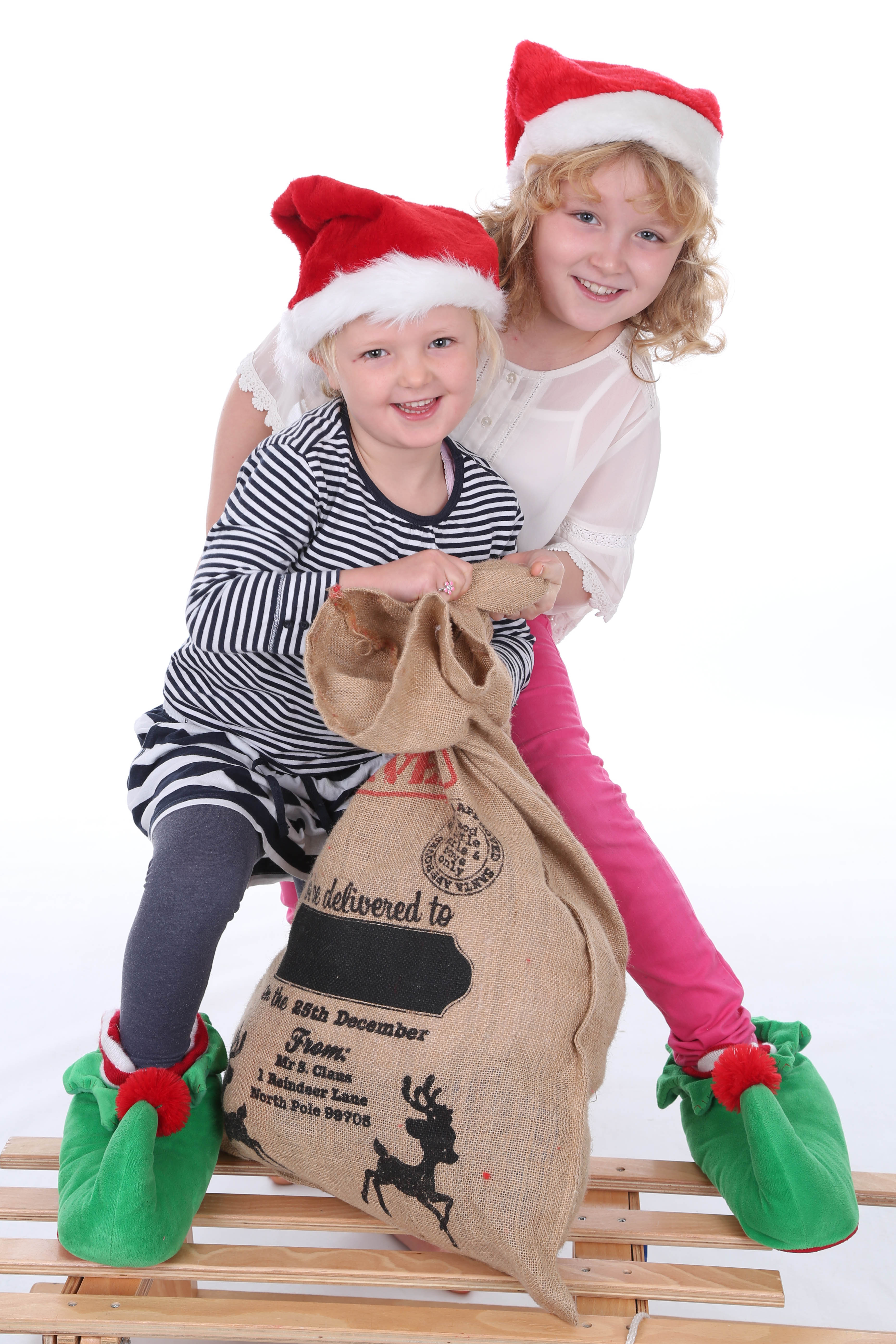 Santa's Christmas Sack, Children, Christmas, Fun, Photoshoot, HQ Photo