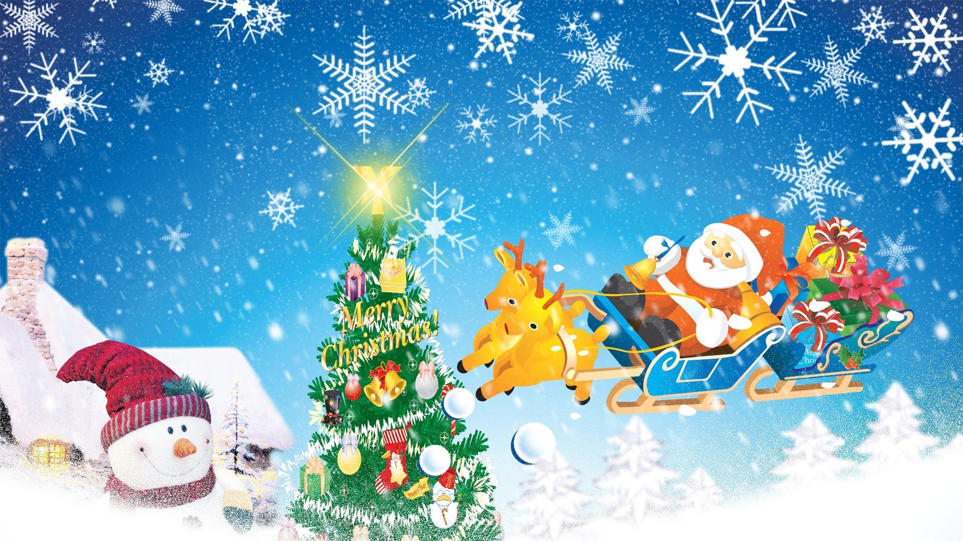 Winter: Santa Sleigh Christmas Merry Trees Sky Snowflakes Feliz Toys ...