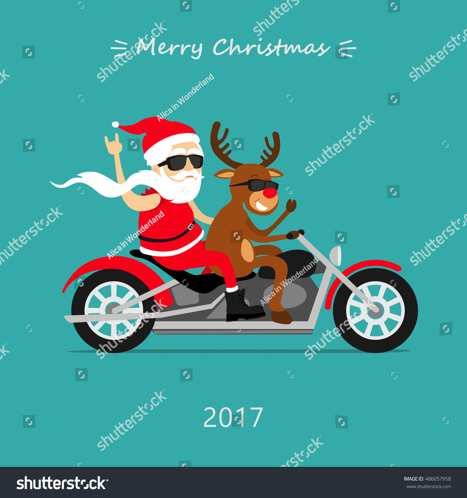 Merry Christmas Santa Claus Deer Ride Stock Photo (Photo, Vector ...