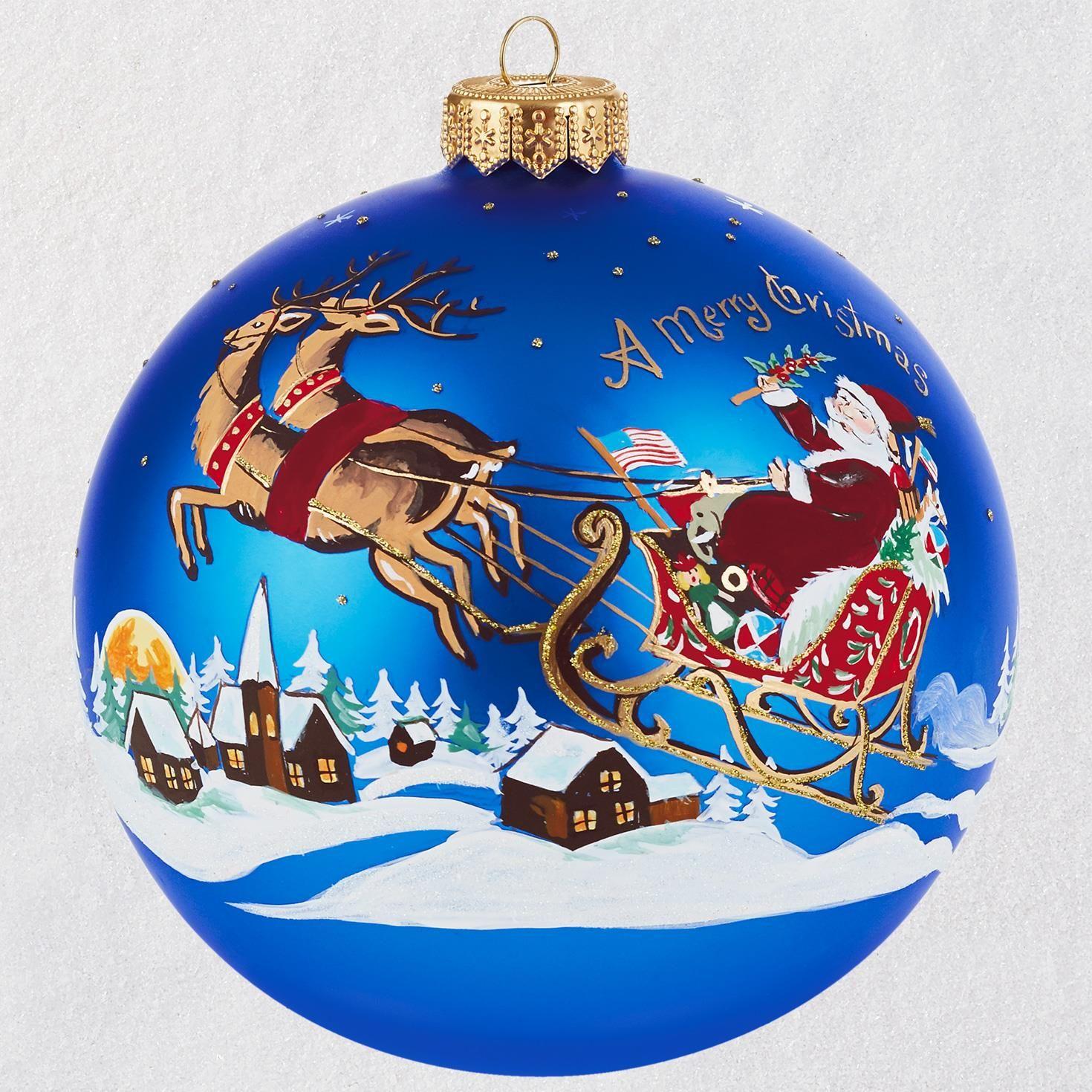 Santa's Ride Ball Blown Glass Ornament - Specialty Ornaments - Hallmark
