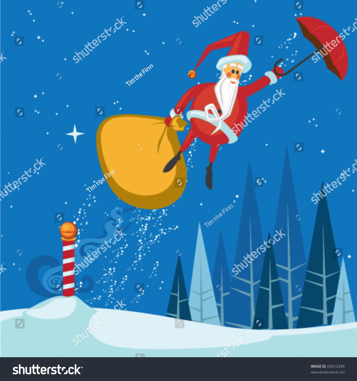 Santas Magic Umbrella Ride Stock Vector 65613349 - Shutterstock