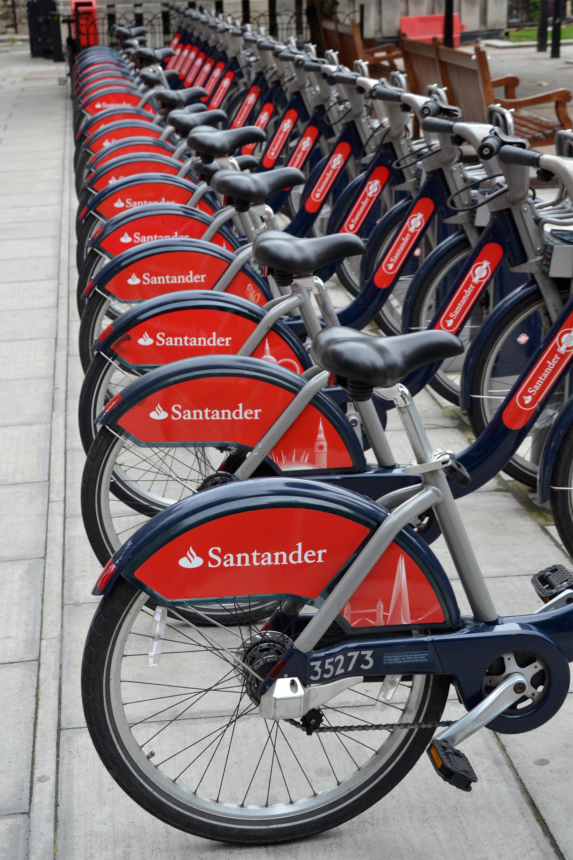 Santander bikes, Bank, Sport, Saddle, Santander, HQ Photo