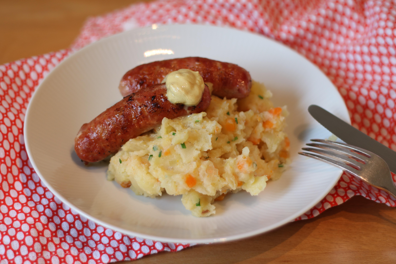Sausage and egg on plate photo