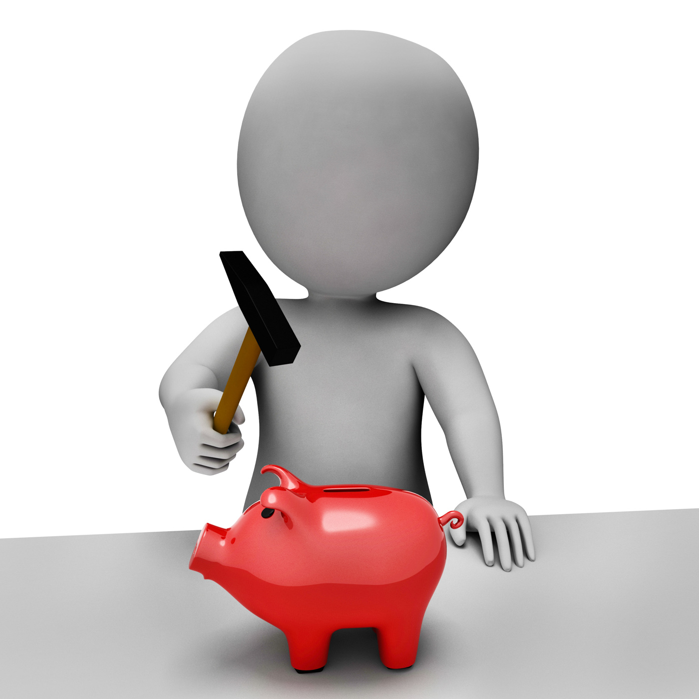 Save piggybank shows spending word and banking 3d rendering photo