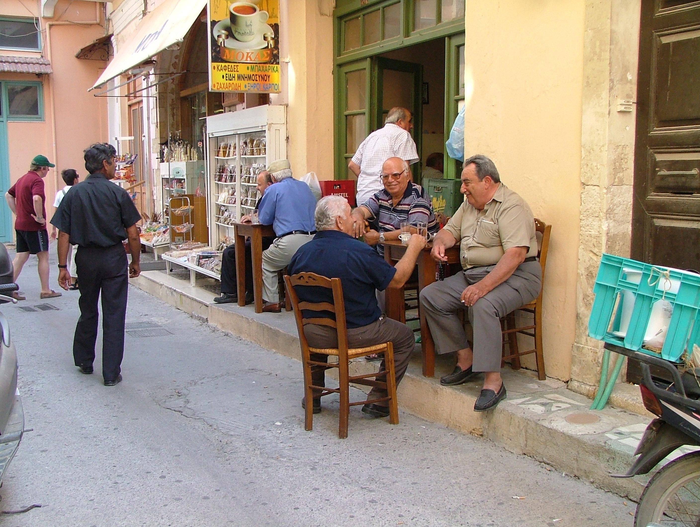 Scenes from crete, Cafe, Crete, Elderly, Men, HQ Photo
