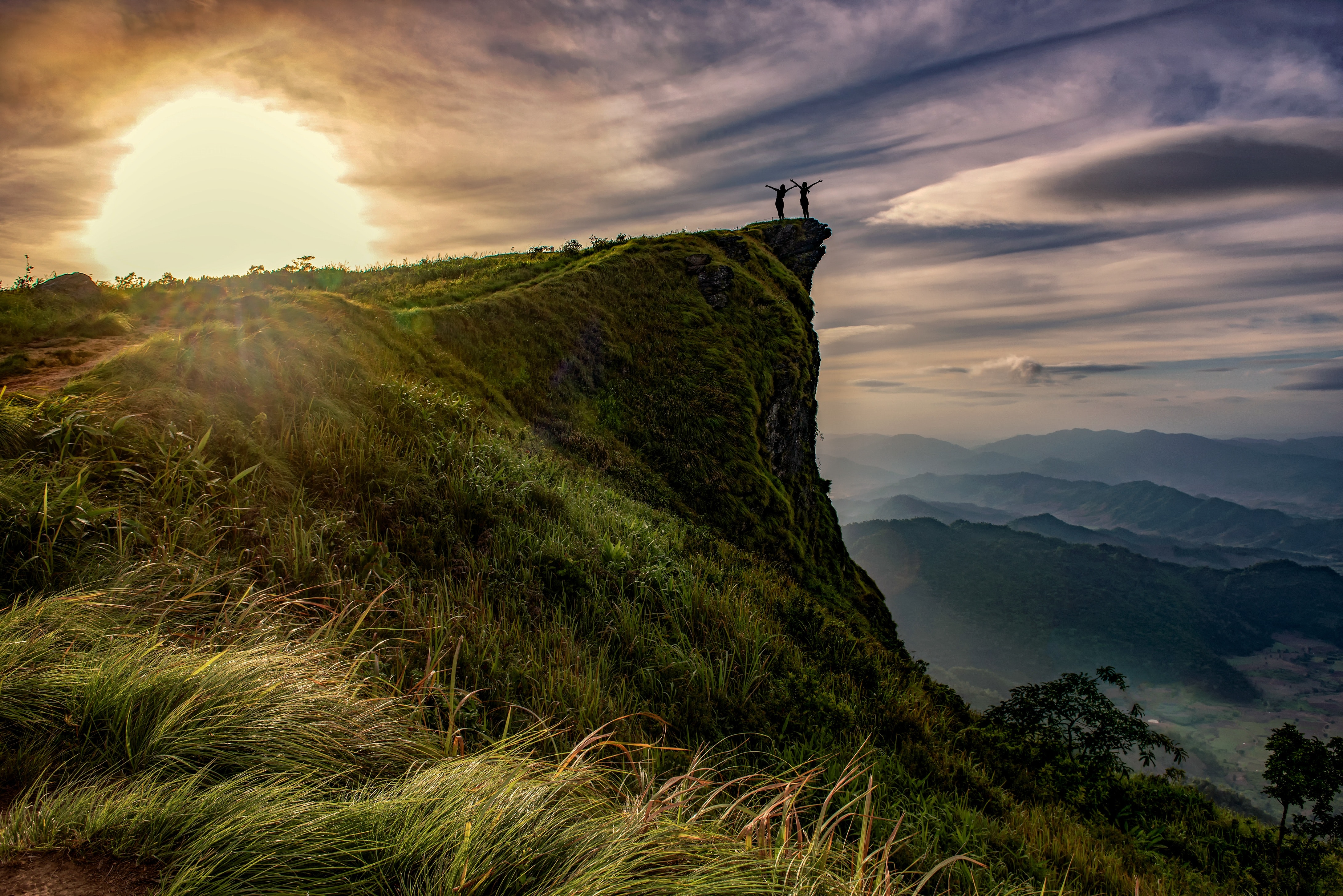 Scenic View of Landscape Against Sky during Sunset, Above, Hiking, Sunrise, Sunlight, HQ Photo