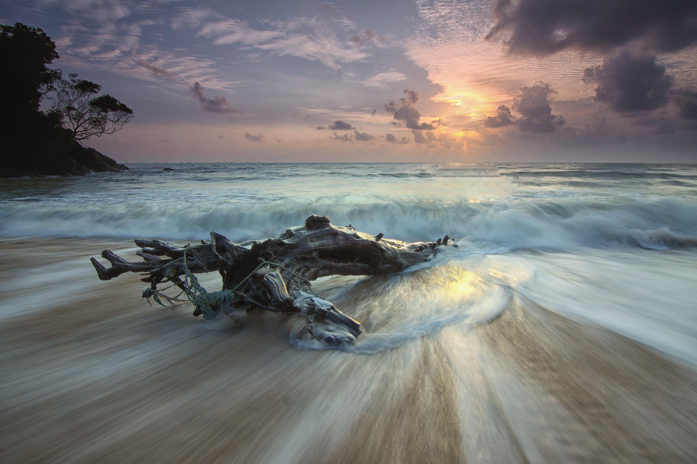 Scenic View of Sea Against Dramatic Sky, Seashore, Shore, Seascape, Seafoam, HQ Photo