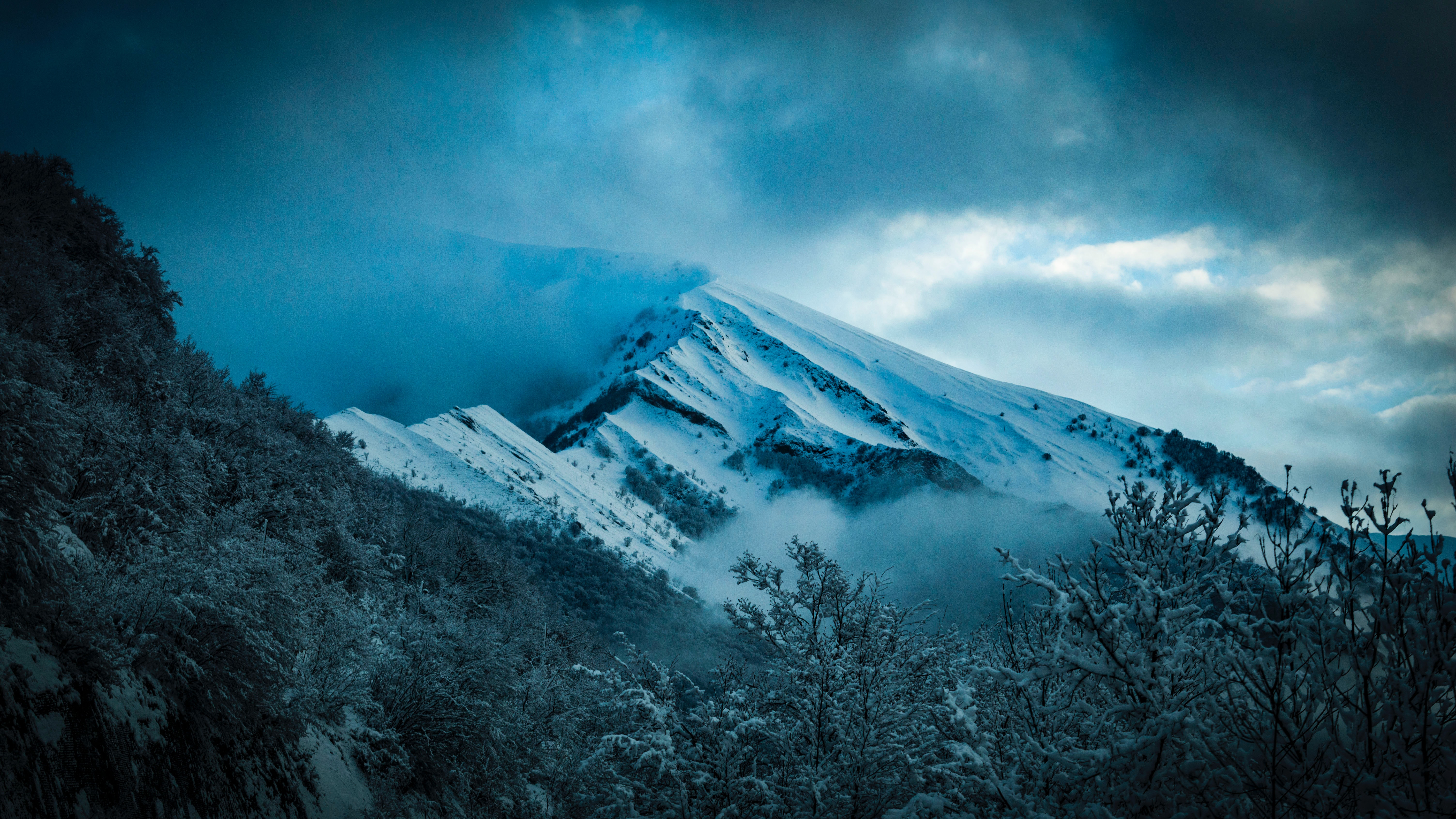 Scenic View of Snowy Mountain, Clouds, Mountain, Winter, Weather, HQ Photo