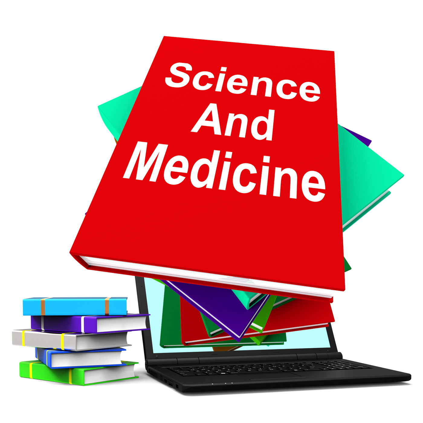 Science And Medicine Book Stack Laptop Shows Medical Research, Medicine, Studying, Study, Stack, HQ Photo