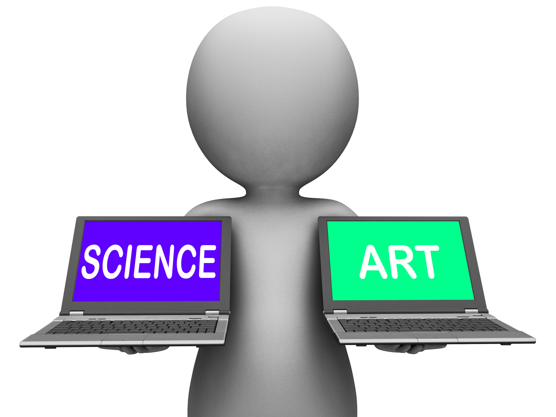 Science art laptops shows scientific or artistic photo