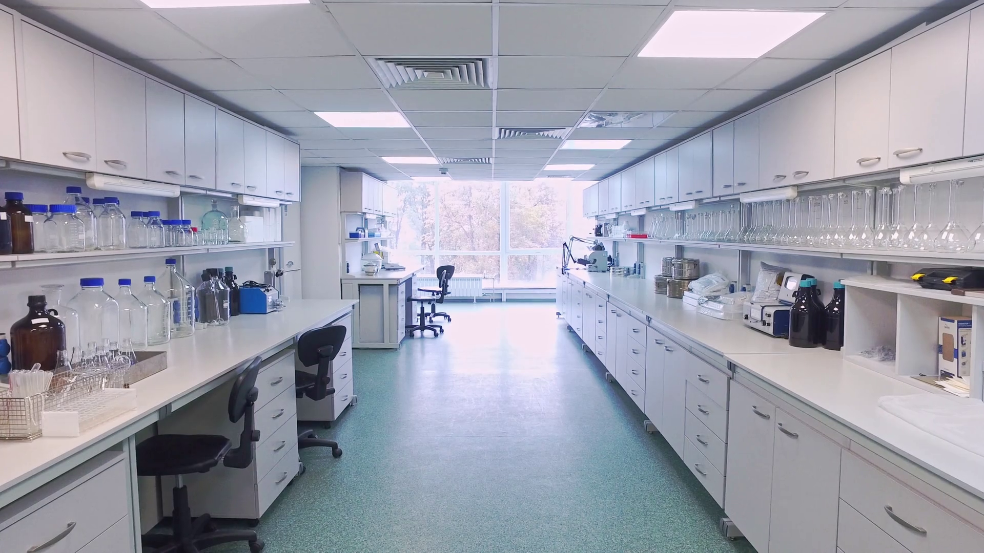 Research laboratory interior. Point of view empty science laboratory ...