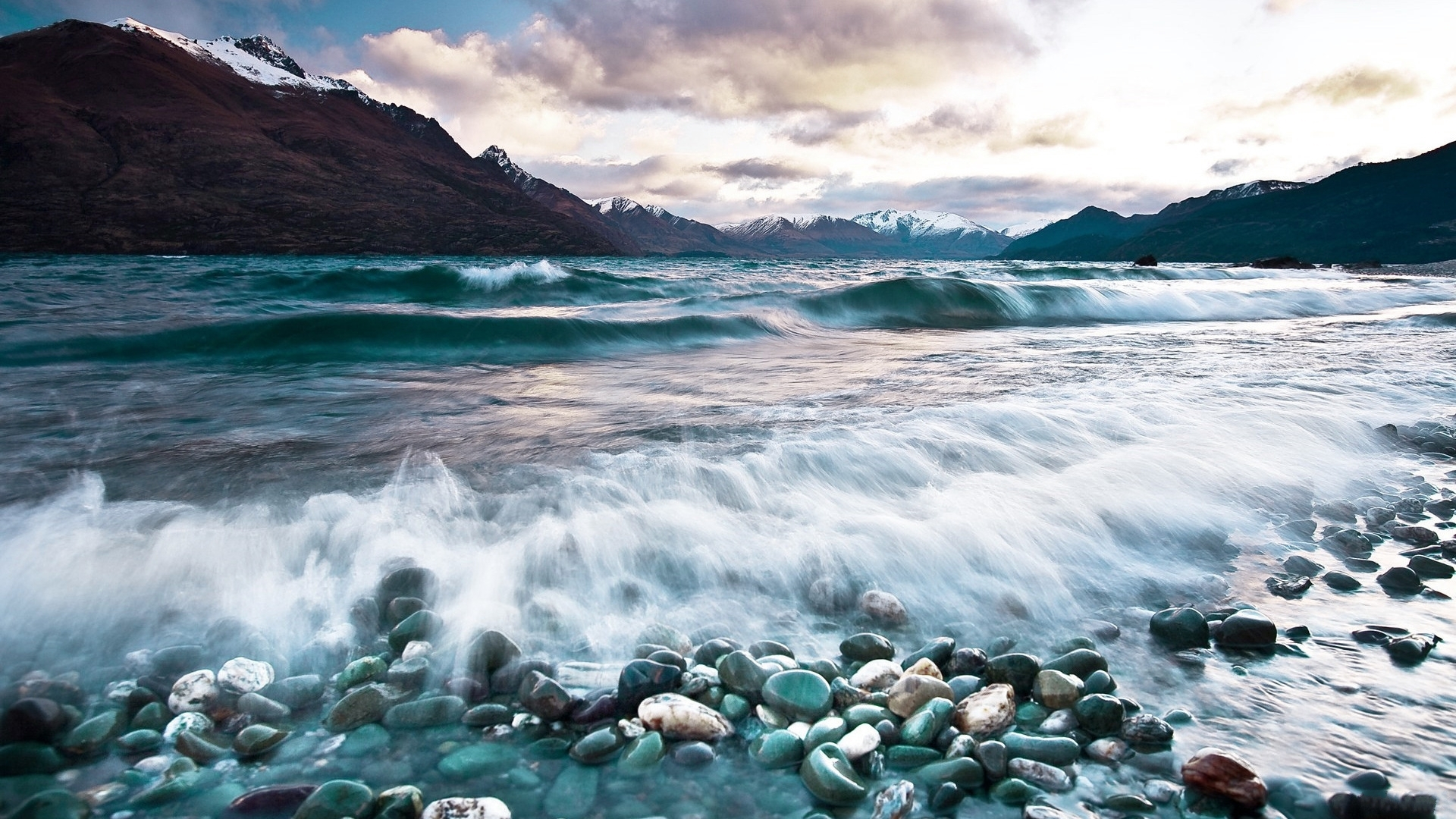 Download Wallpaper 1920x1080 stones, waves, sea, mountains, foam ...