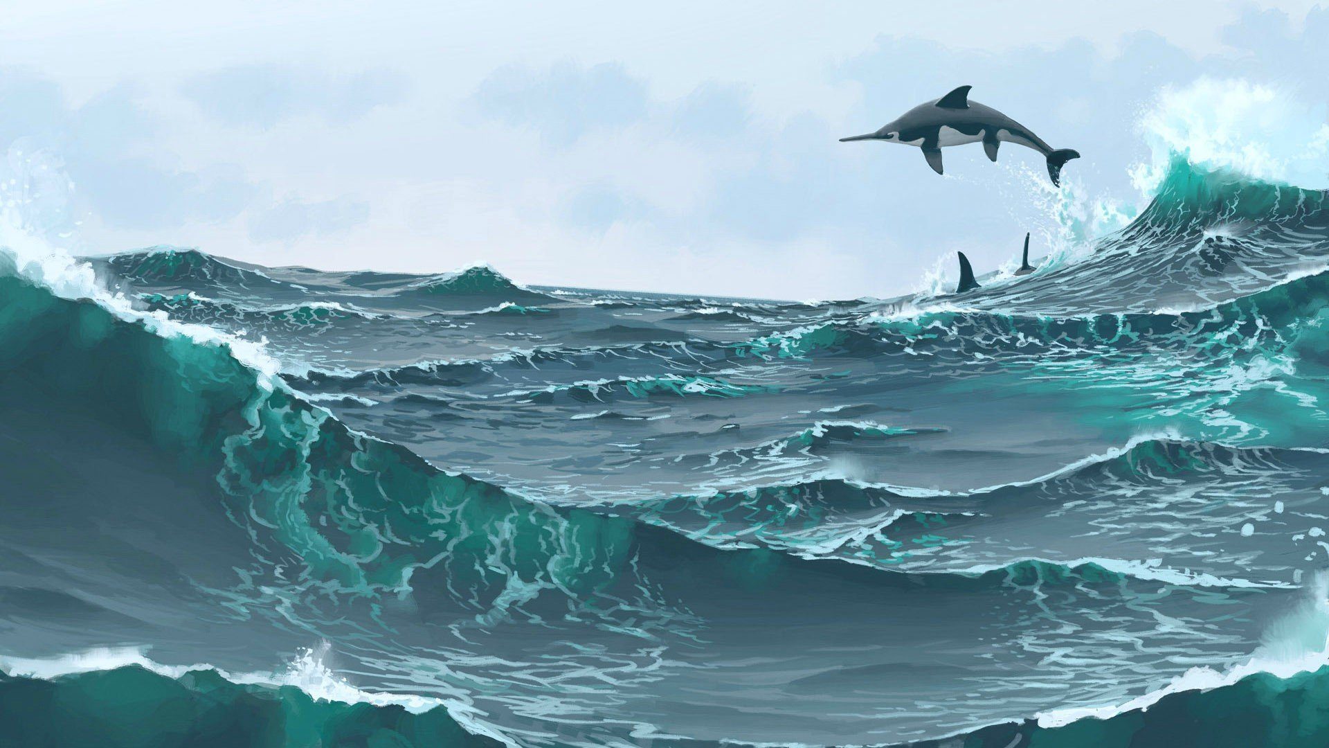 Dolphin ocean sea wave artwork wallpaper | 1920x1080 | 766568 ...