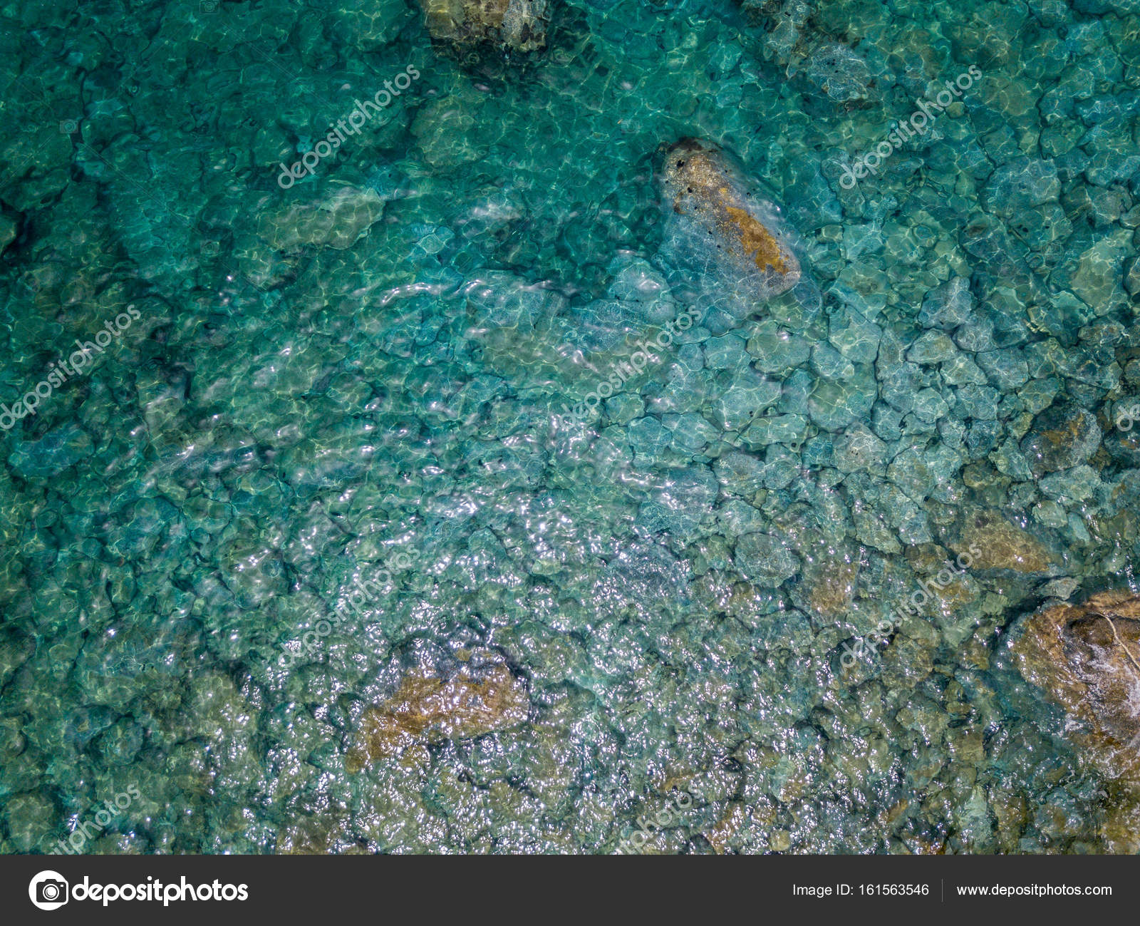 Aerial view of rocks on the sea. Overview of the seabed seen from ...