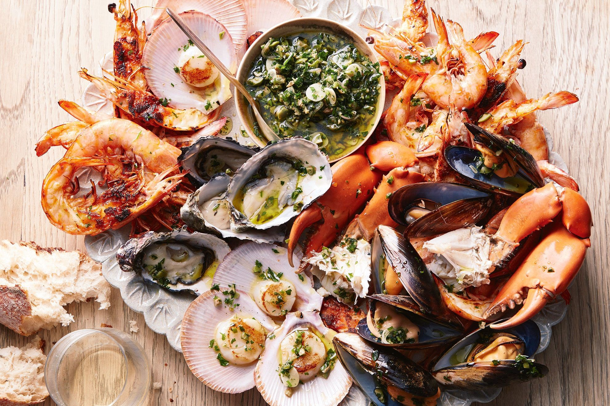Seafood platter with olive sauce vierge