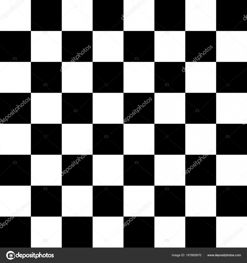 Chessboard or checker board seamless pattern in black and white ...