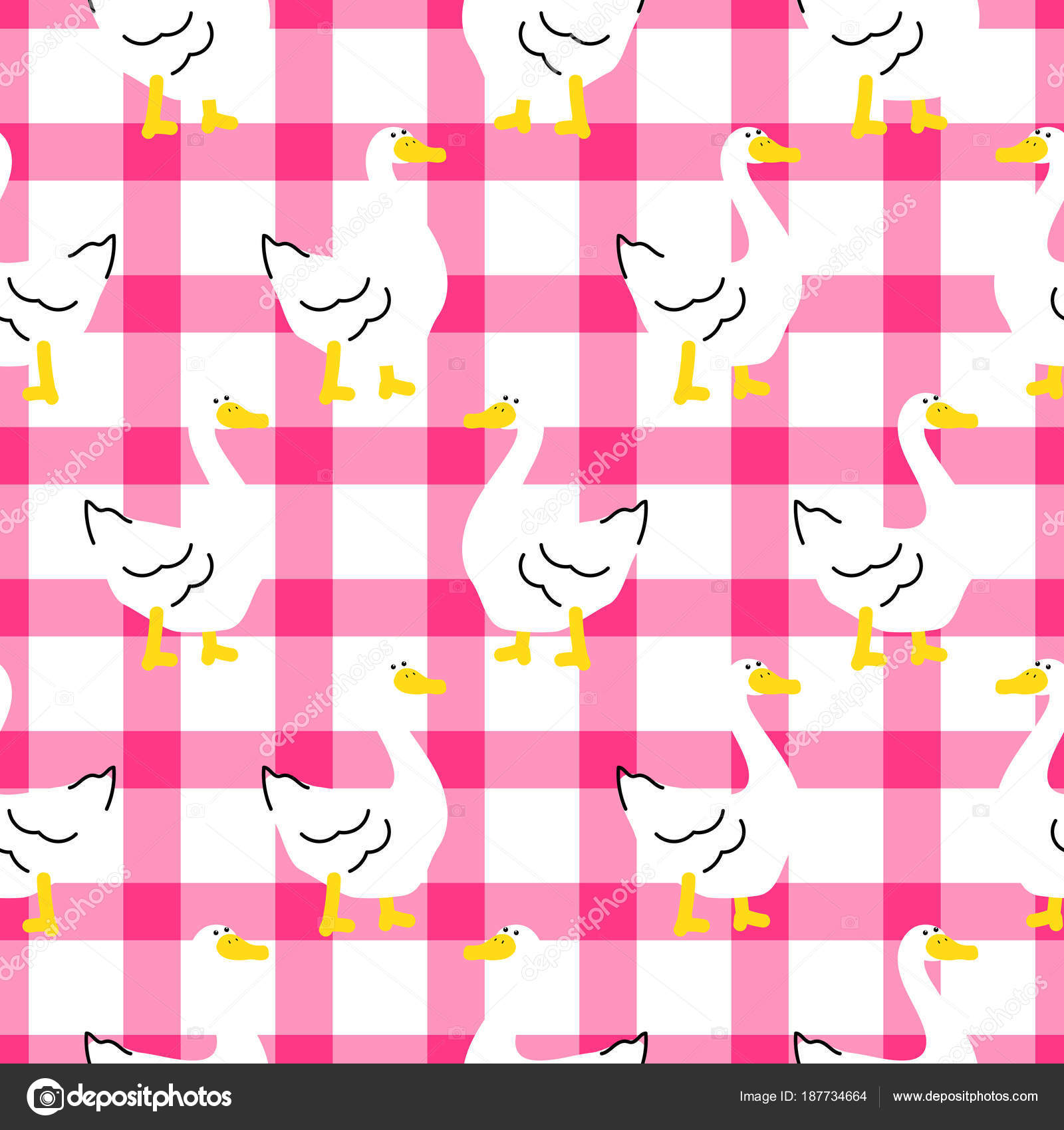 Seamless pattern with a cute goose on checkered background. — Stock ...