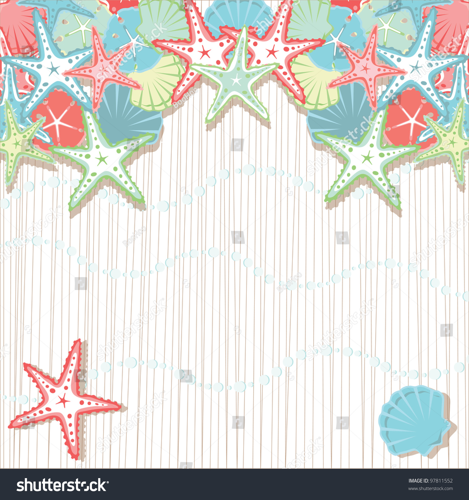 Seashell Beach Party Invitations Soft Colored Stock Vector 97811552 ...