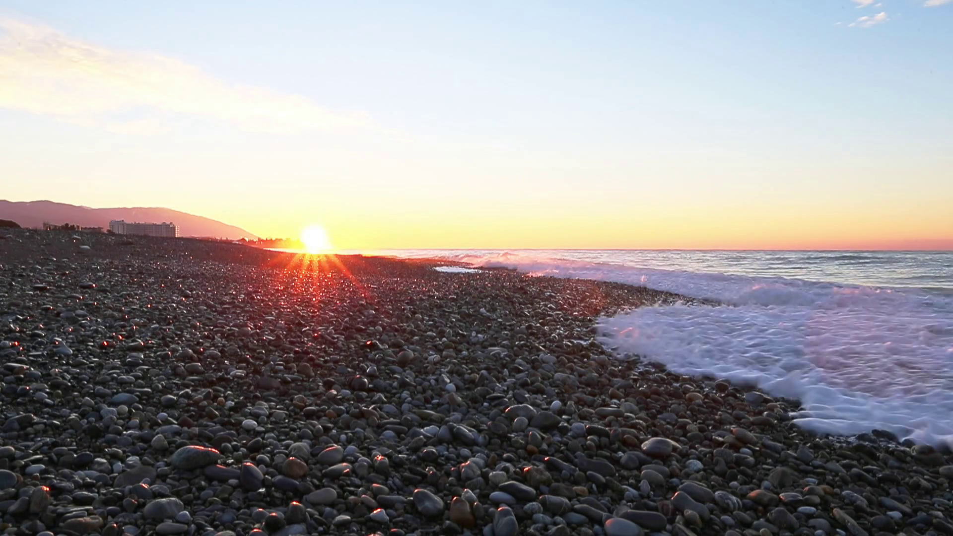 Sunrise panorama on seashore morning. Stock Video Footage - Videoblocks