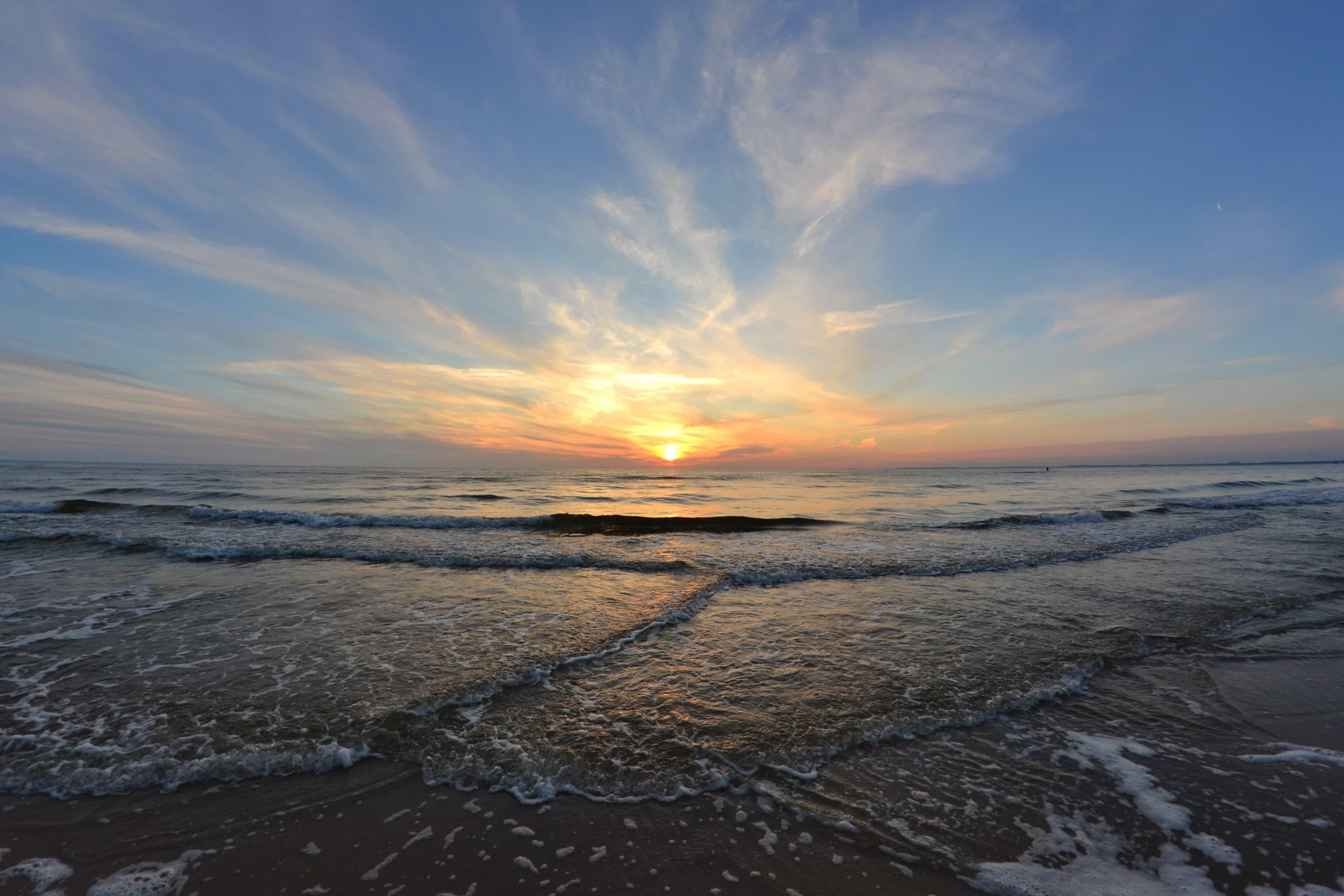 Free picture: sunrise, wave, pacific, sunlight, water, sea, beach ...