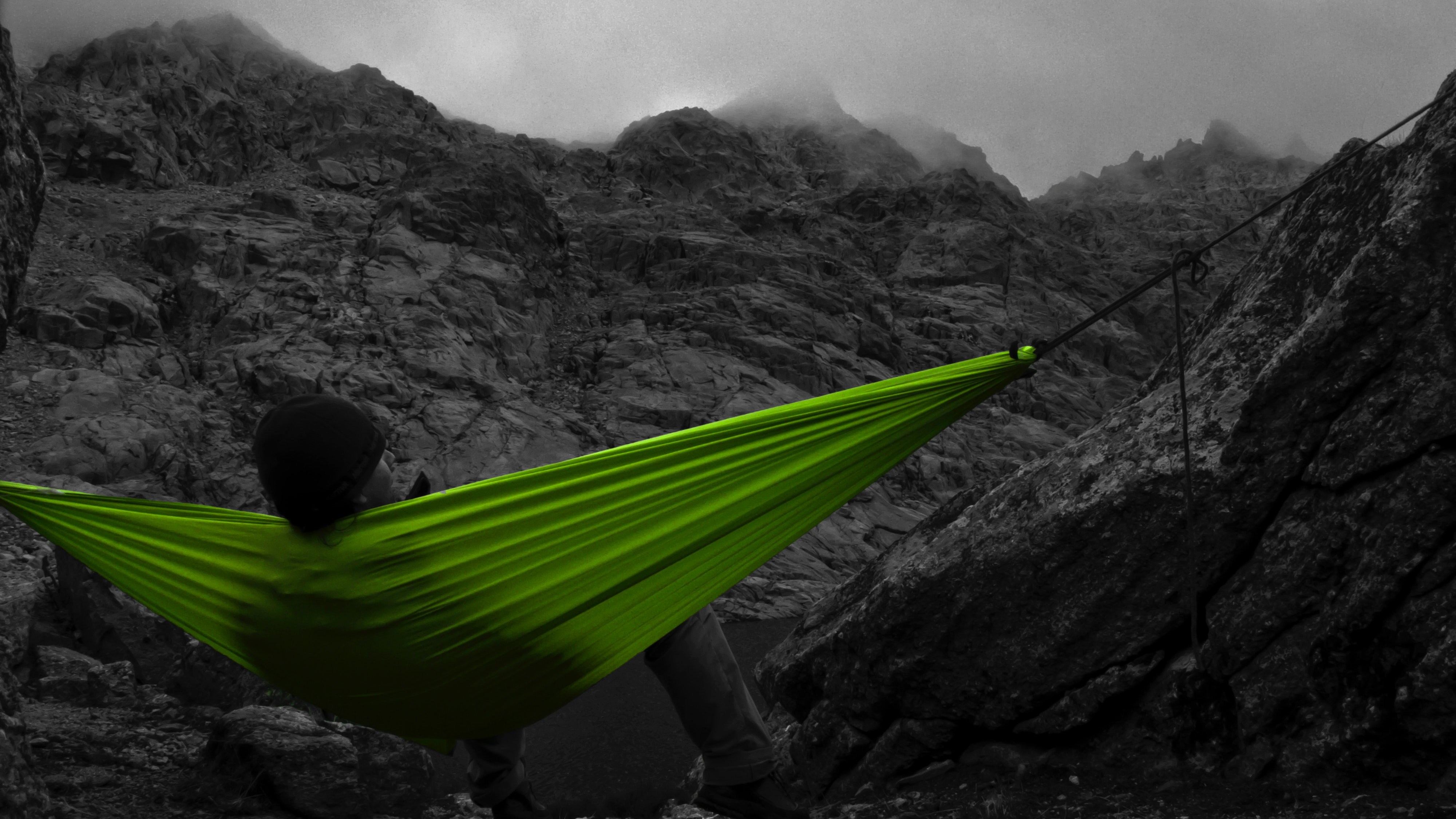 Selective color of green canvas hammock photo