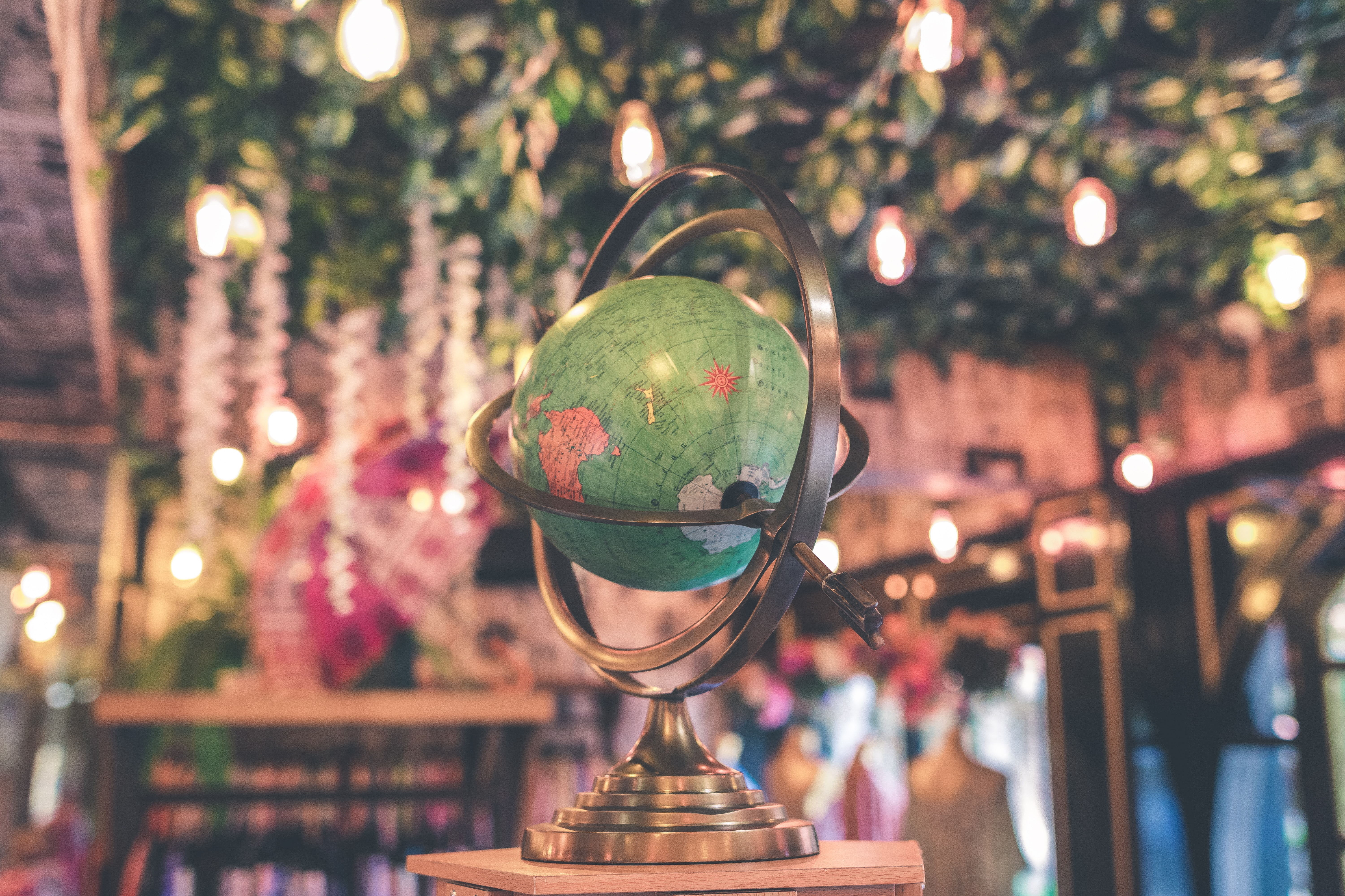 Selective Focus Photo of Armillary Globe, Lights, Longitude, Map, Landscape, HQ Photo