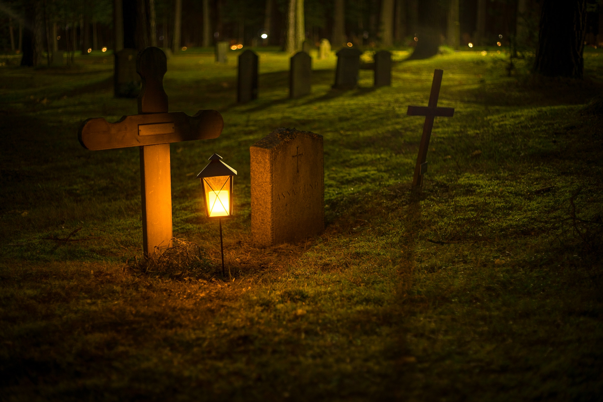 Selective Focus Photo of Cemetery Lantern, Cemetery, Tombstone, Outdoors, Night, HQ Photo