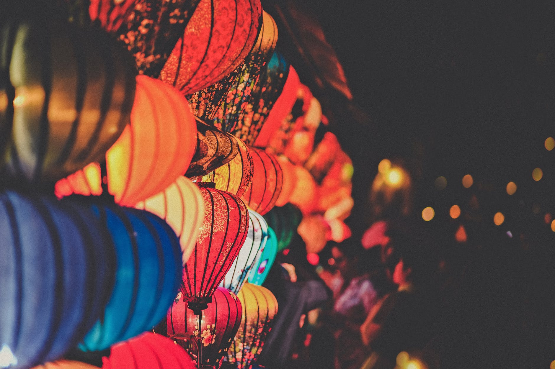 Selective focus photography of paper lanterns
