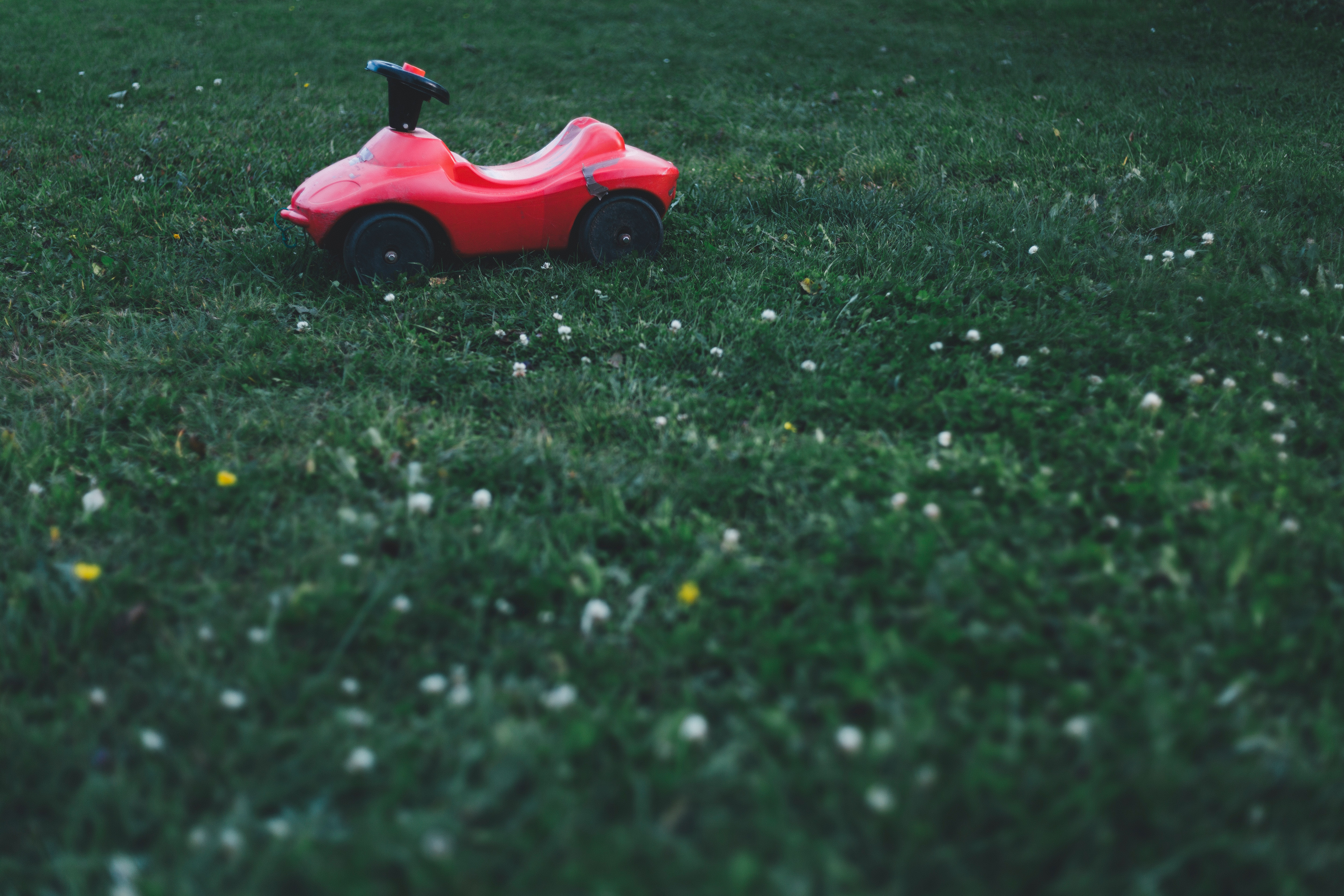 Selective Focus Photography of Red Ride on Toy, Garden, Grass, Landscape, Lawn, HQ Photo