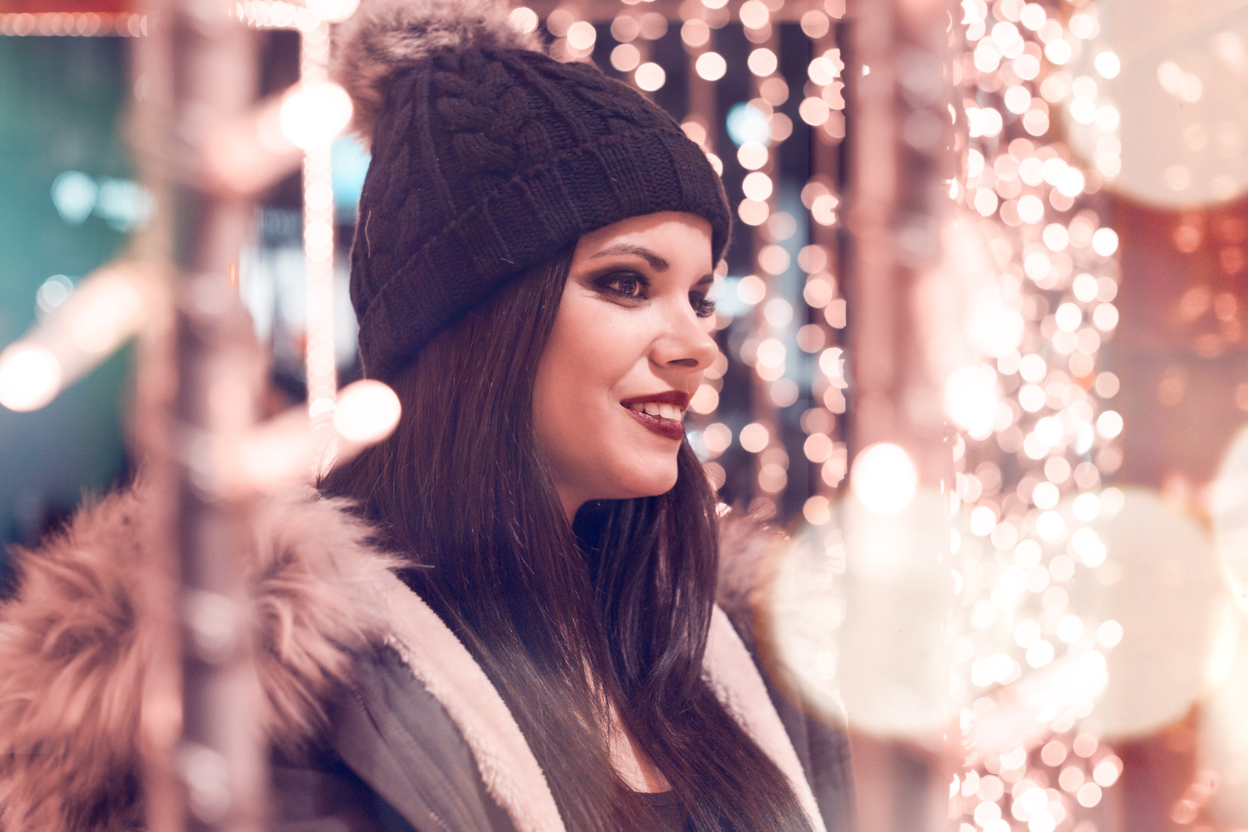 Selective Focus Photography of Woman Wearing Black Cap and Gray Parka Jacket Surrounded by Lights, Attractive, Person, Woman, Wear, HQ Photo