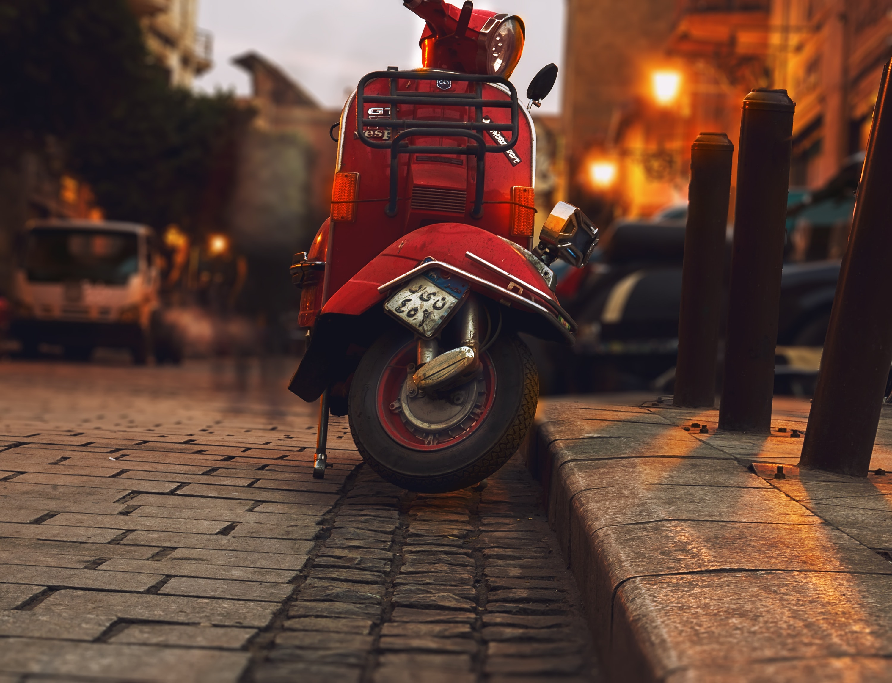 Selective Photography of Red Motor Scooter, Street, Vintage, Vehicles, Vehicle, HQ Photo
