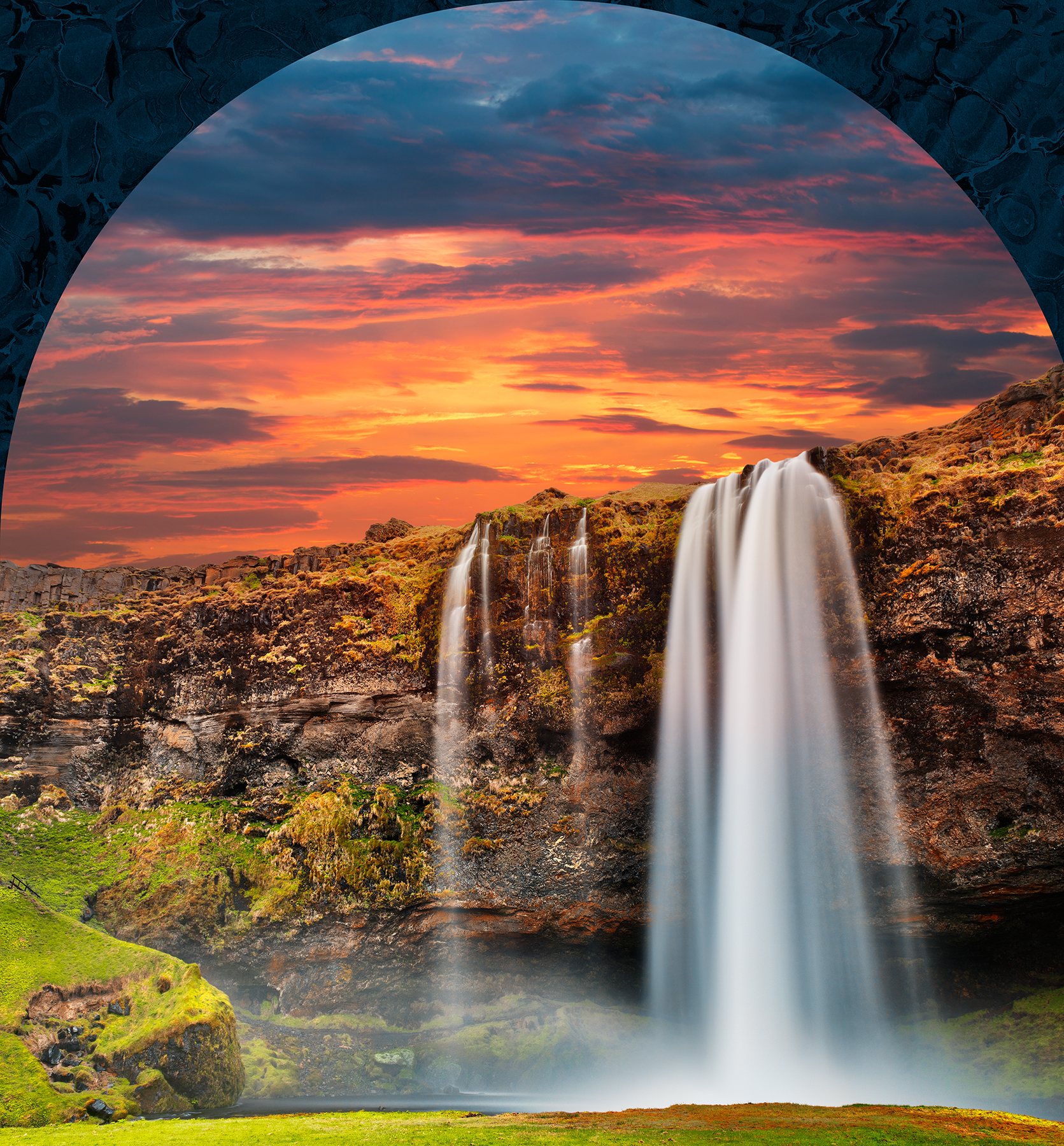 Seljalandsfoss sunset fantasy photo