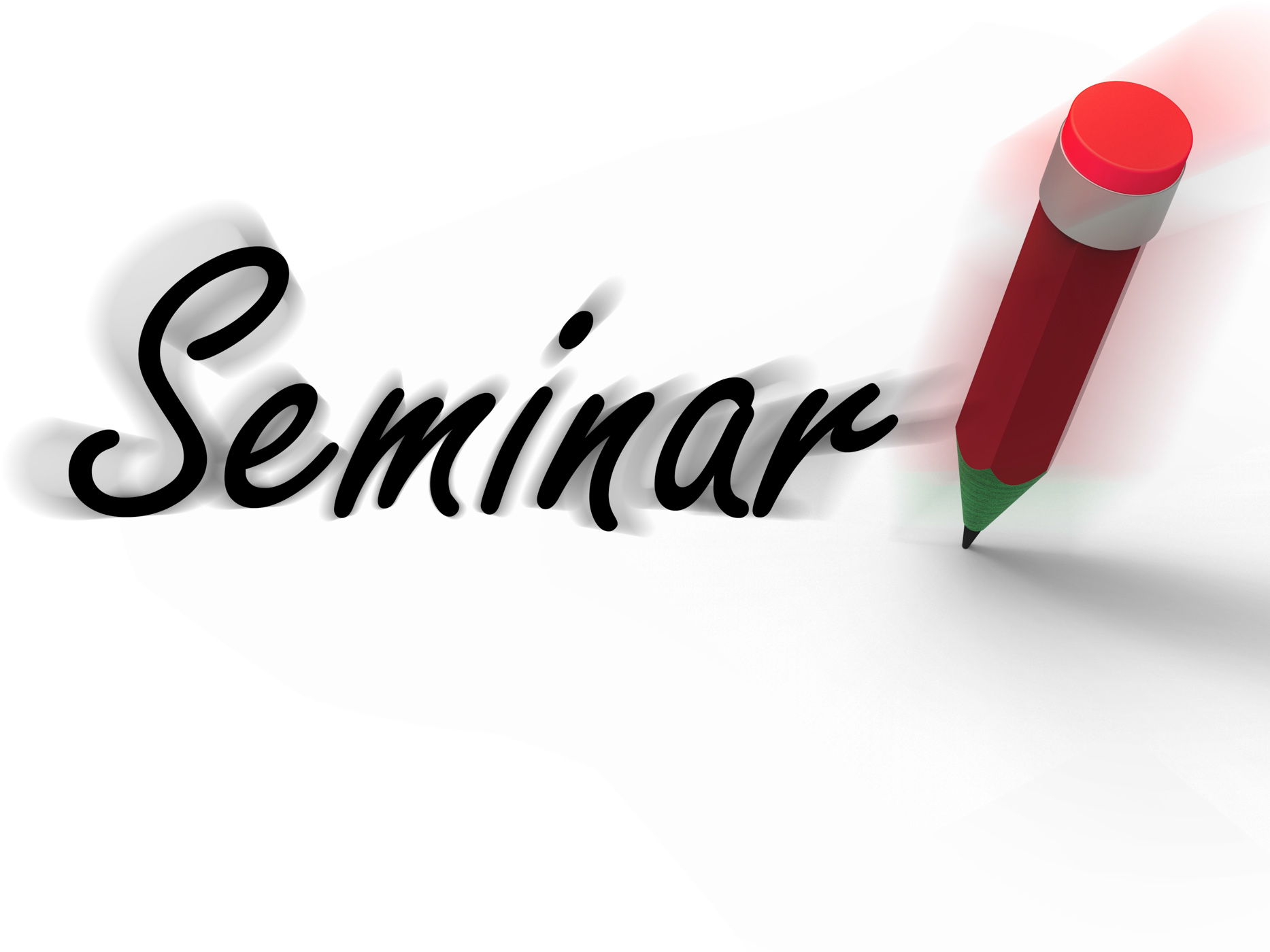 Seminar with pencil displays written appointment for a business confer photo