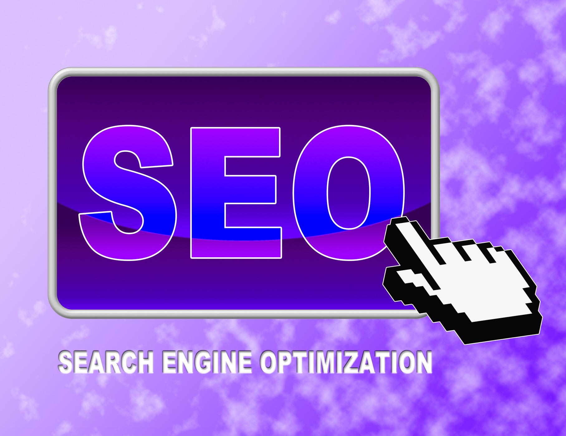 Seo button indicates web site and click photo