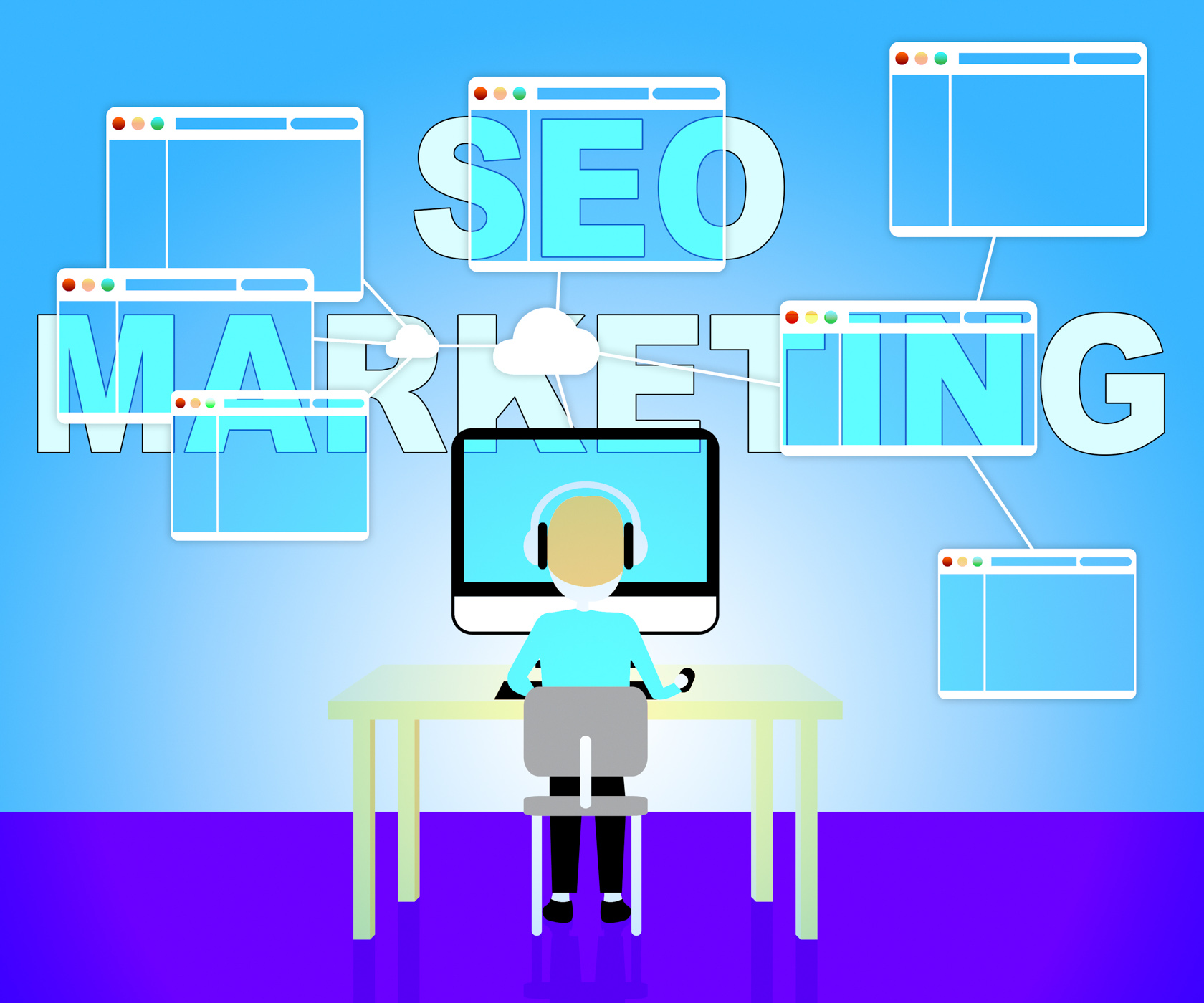 Seo marketing shows search engines 3d illustration photo