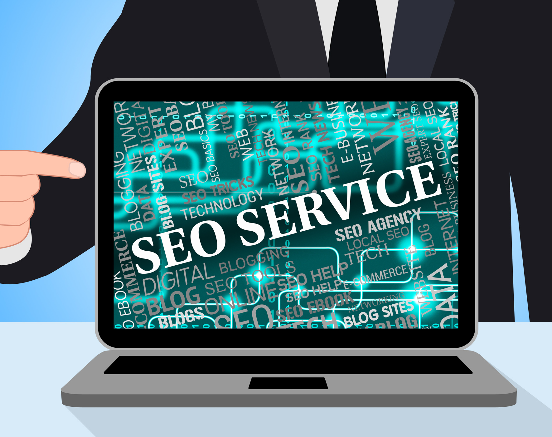 Seo service shows web site and assist photo