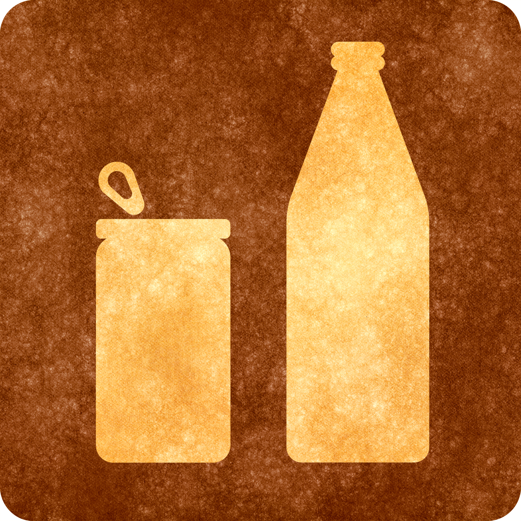Sepia grunge sign - can and bottle photo