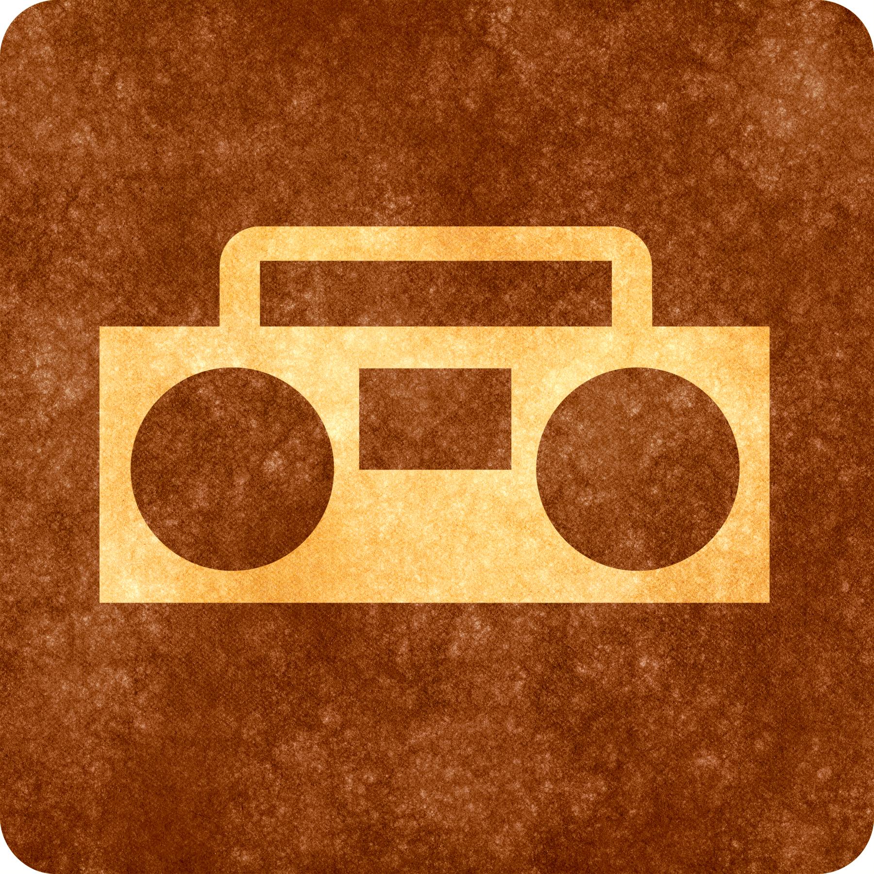 Sepia grunge sign - radio player photo