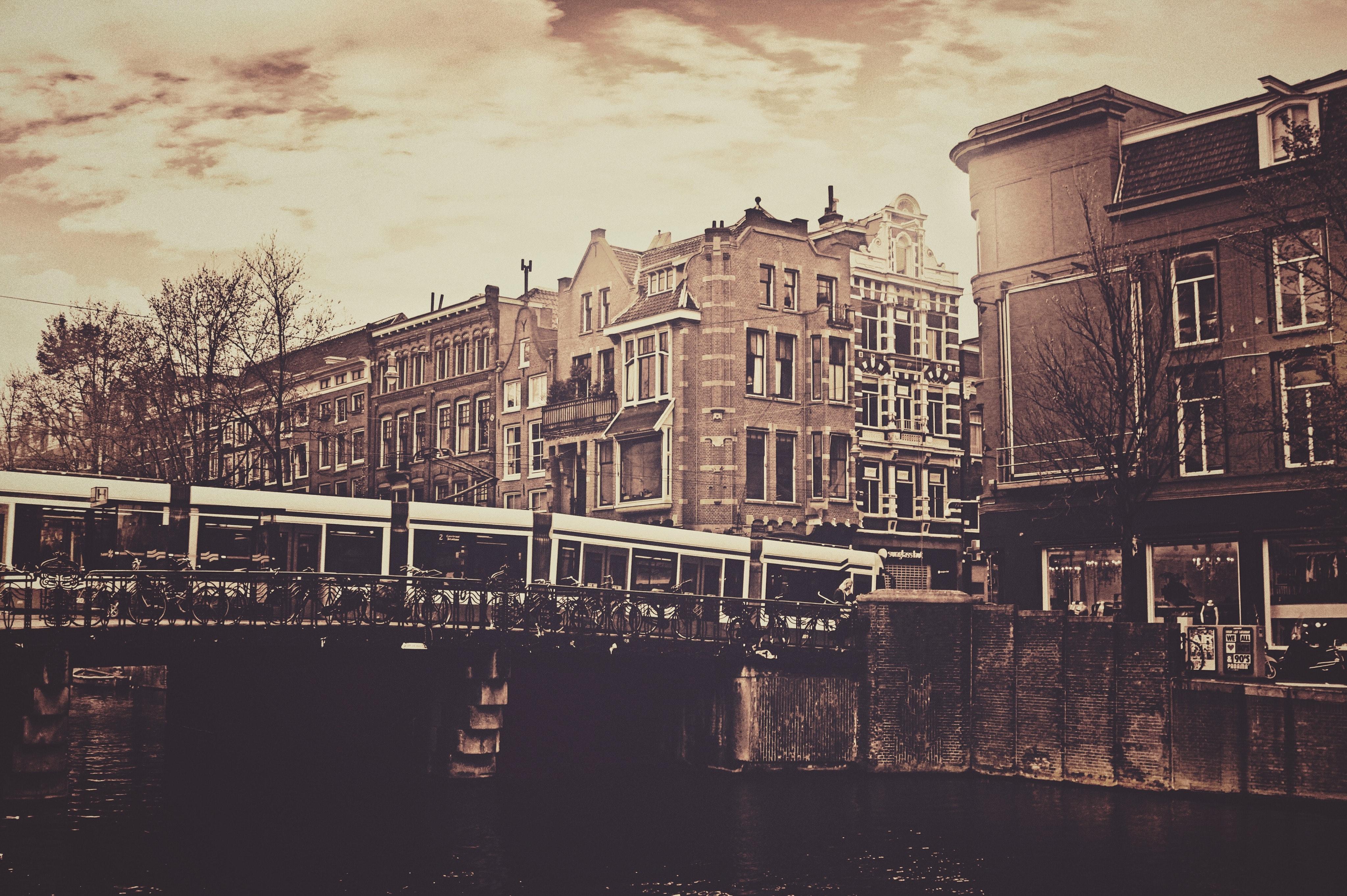 Sepia photography of bridge and concrete house